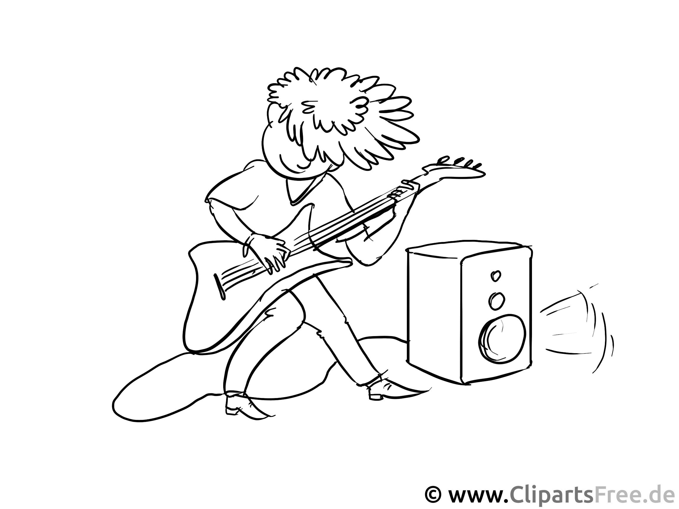 Rock-Musiker Malvorlage - Berufe Ausmalbilder für den Unterricht