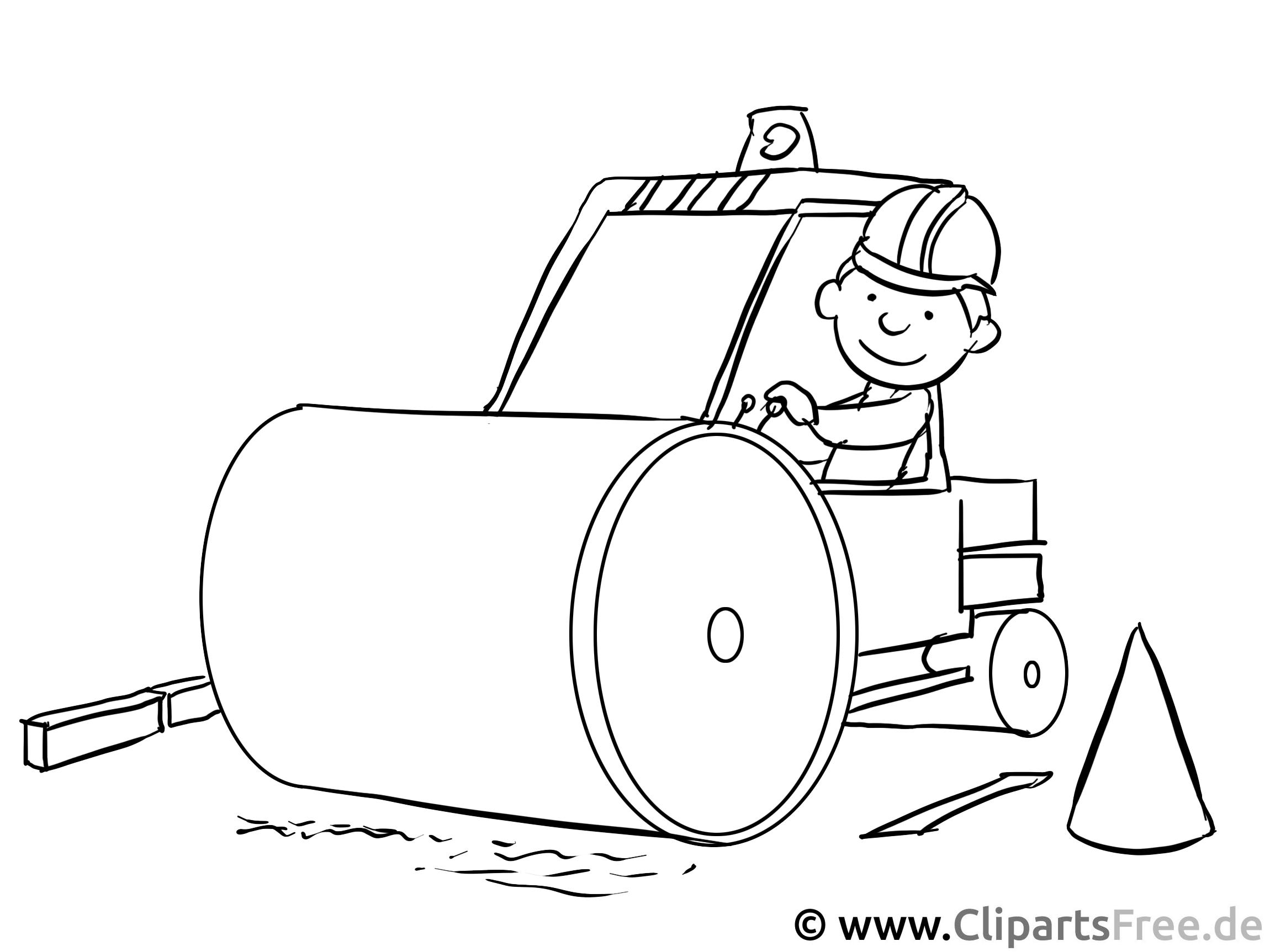 Strassenwalze, Walze, Baustelle - gratis Ausmalbilder zum Ausdrucken