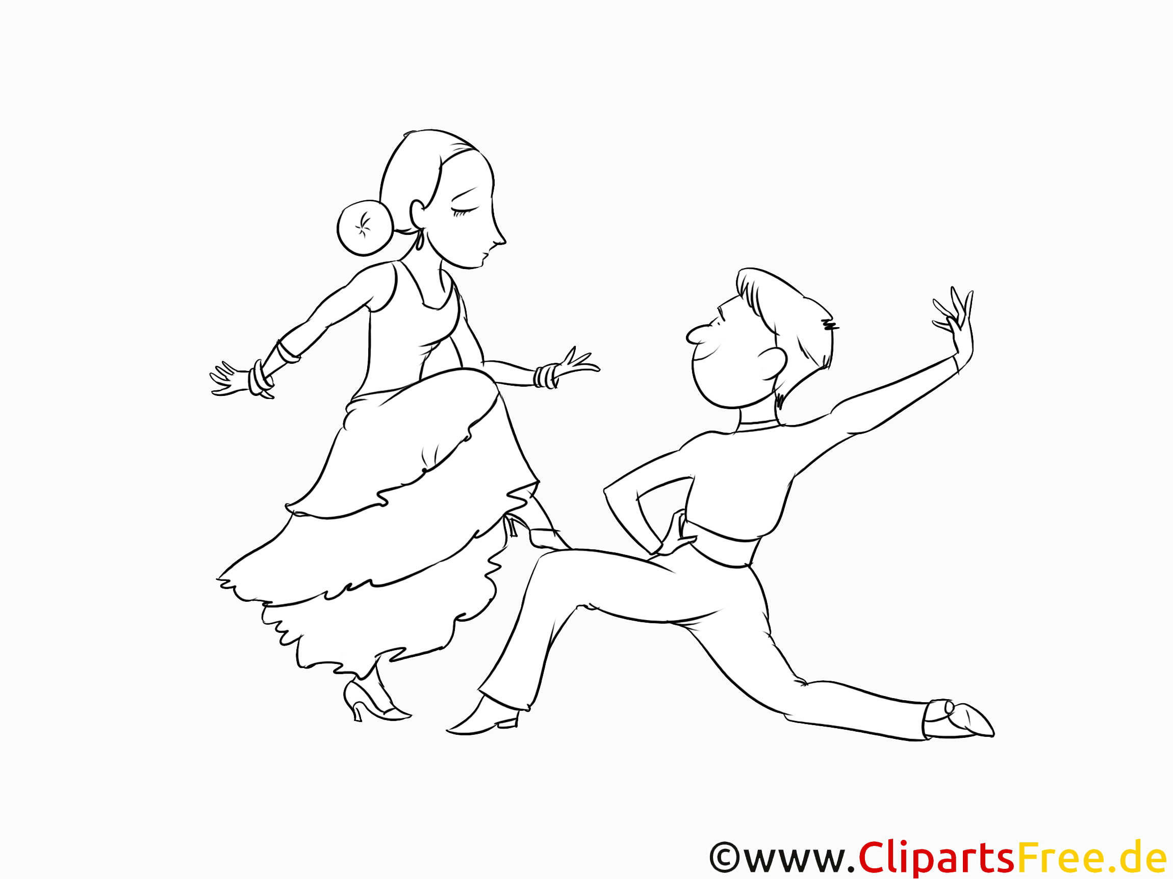 Flamenco Tanzpaar, Tanzschule Malvorlage kostenlos