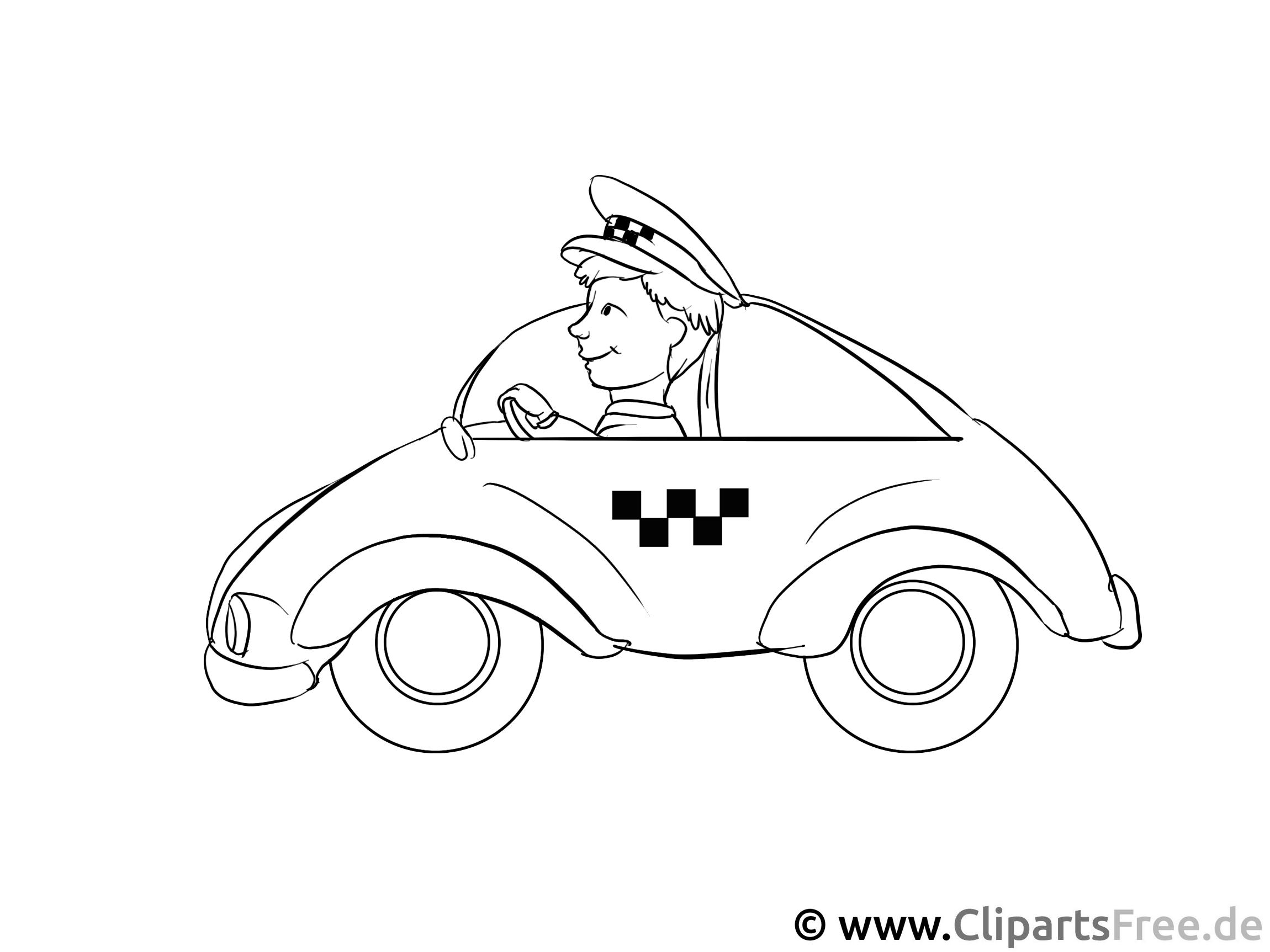 Taxifahrer Ausmalbild - Malvorlagen Menschen und Berufe