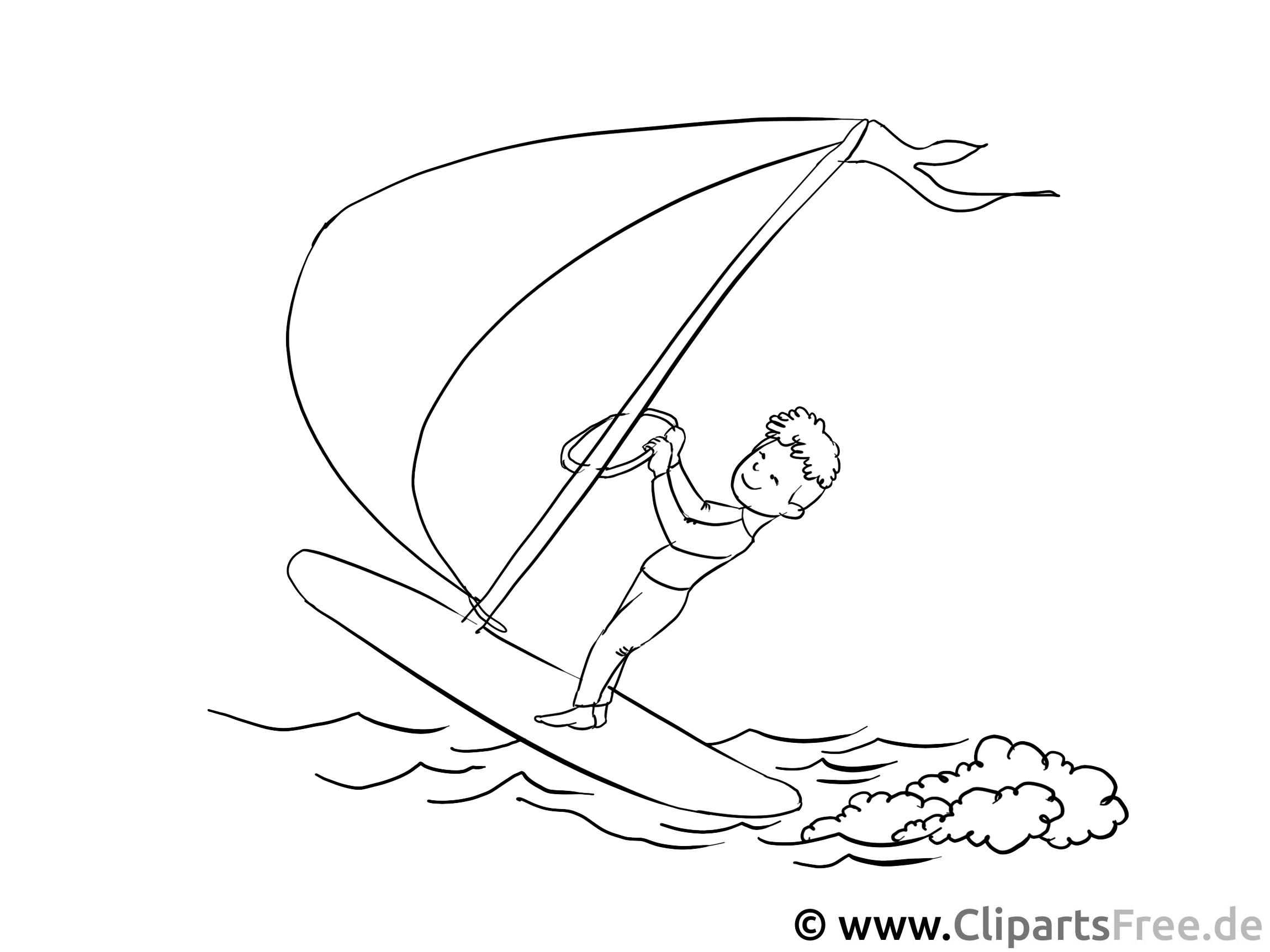 Windsurfer - Malvorlagen für Kinder kostenlos