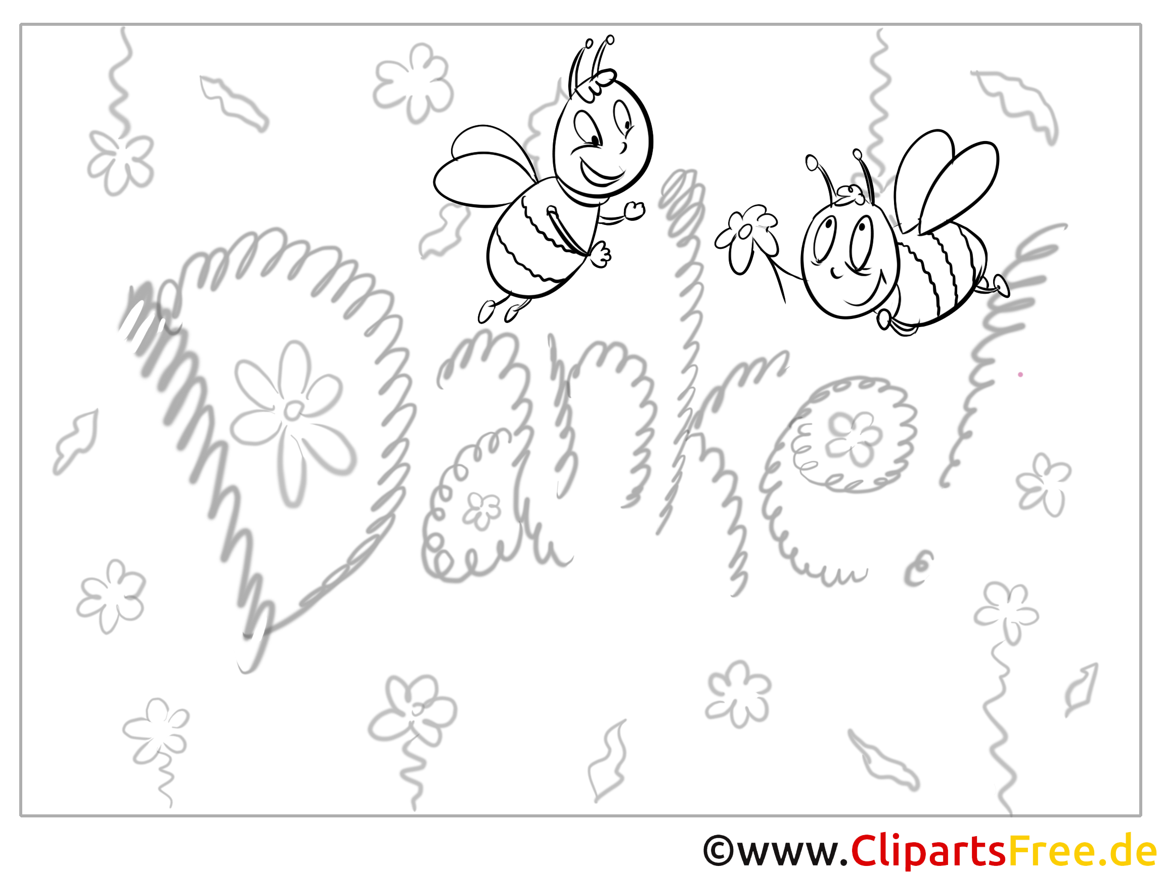Bienen Kostenlose Dankeskarten zum Ausdrucken und Ausmalen