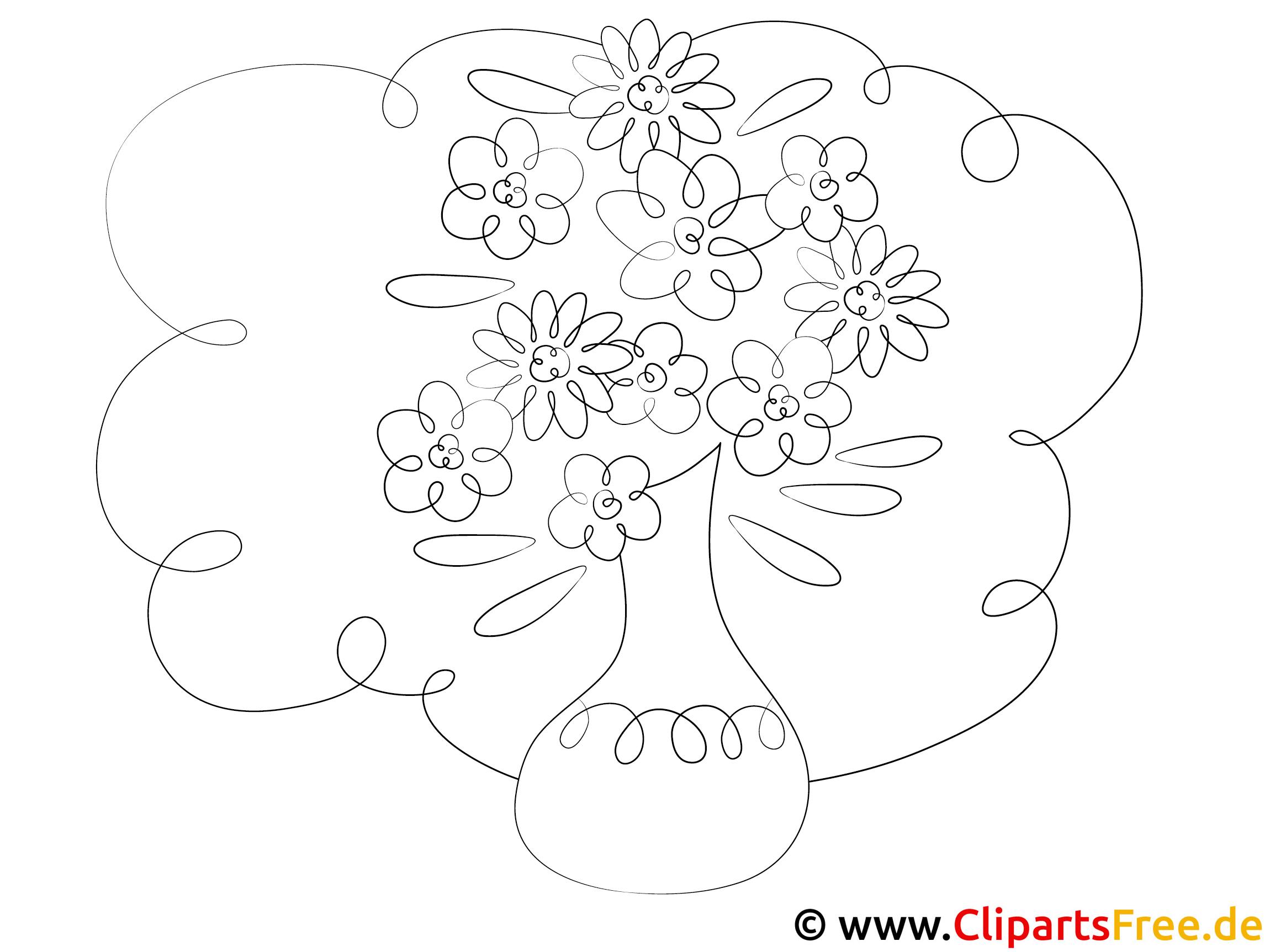 Blumenvase - Zeichnungen Vorlagen zum Ausmalen