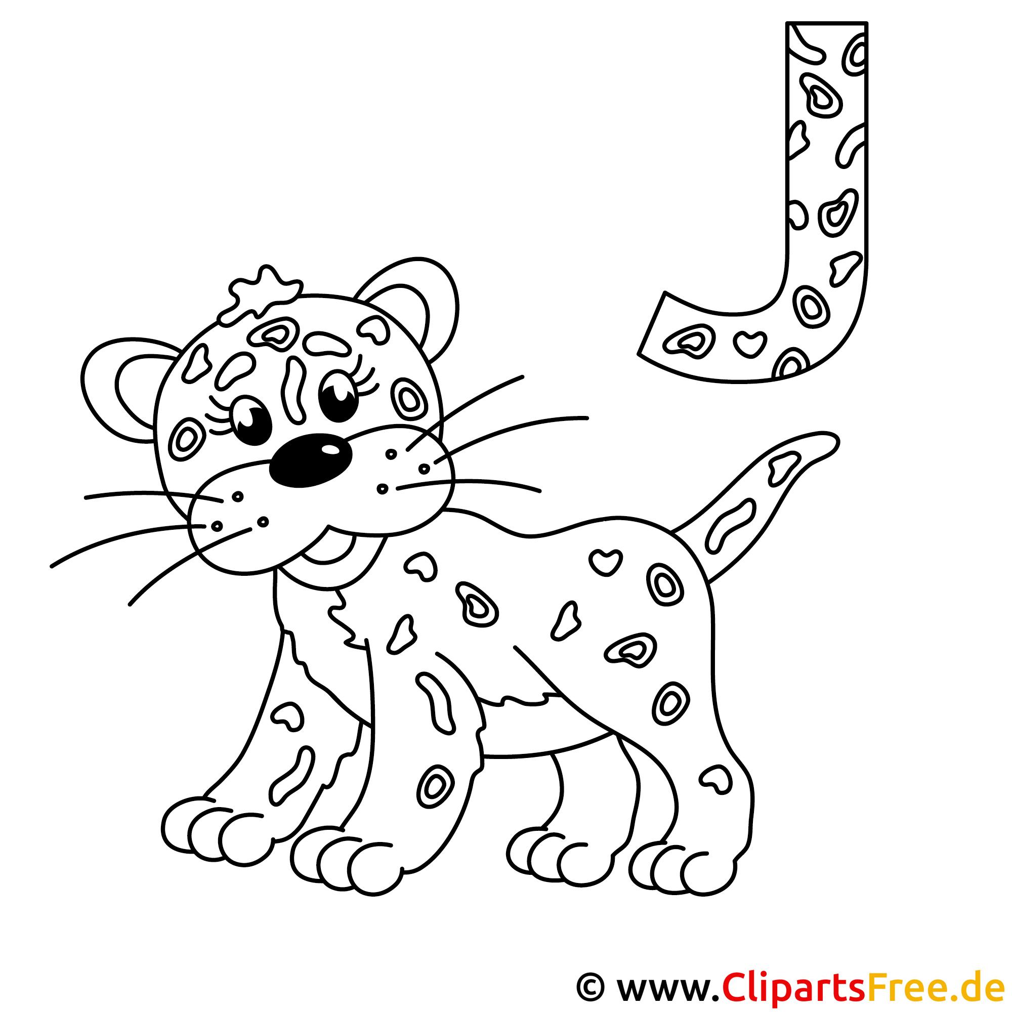 Jaguar Bild zum Ausmalen - Buchstaben Schablone