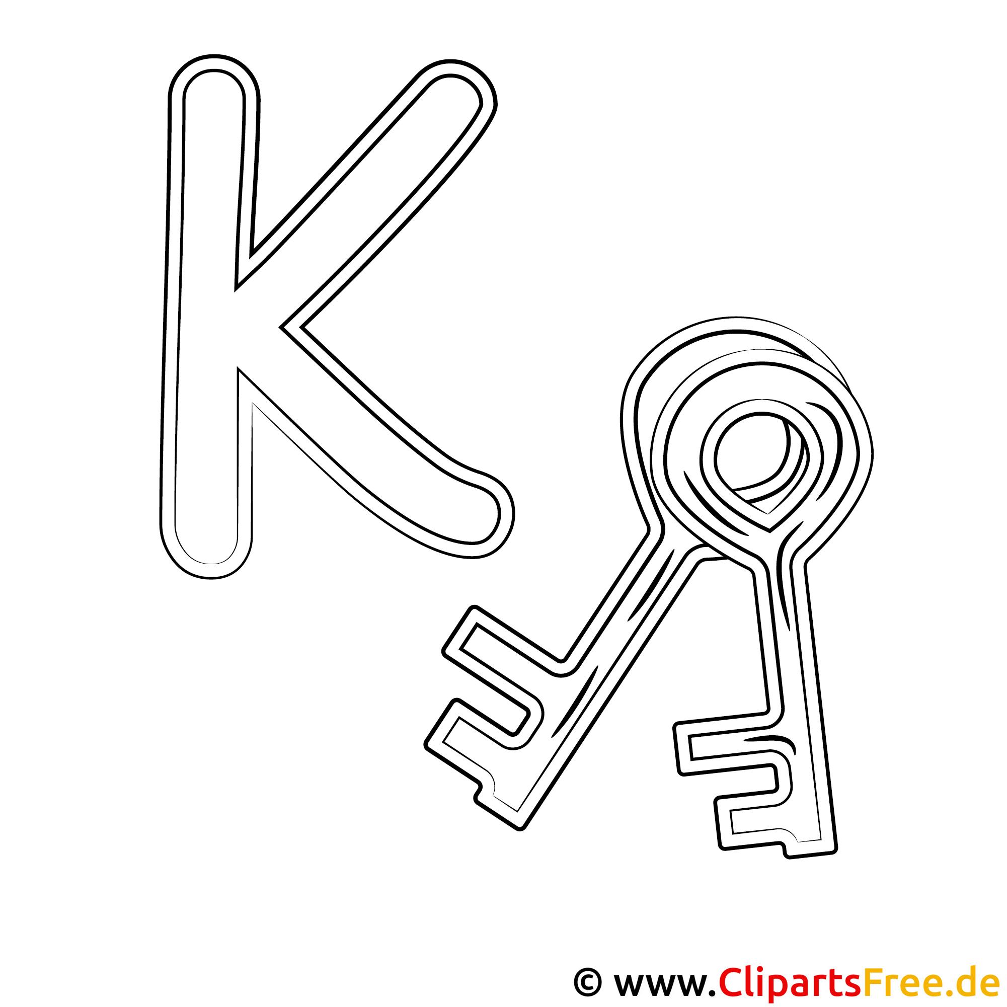 Key - Buchstaben von A bis Z zum Ausmalen