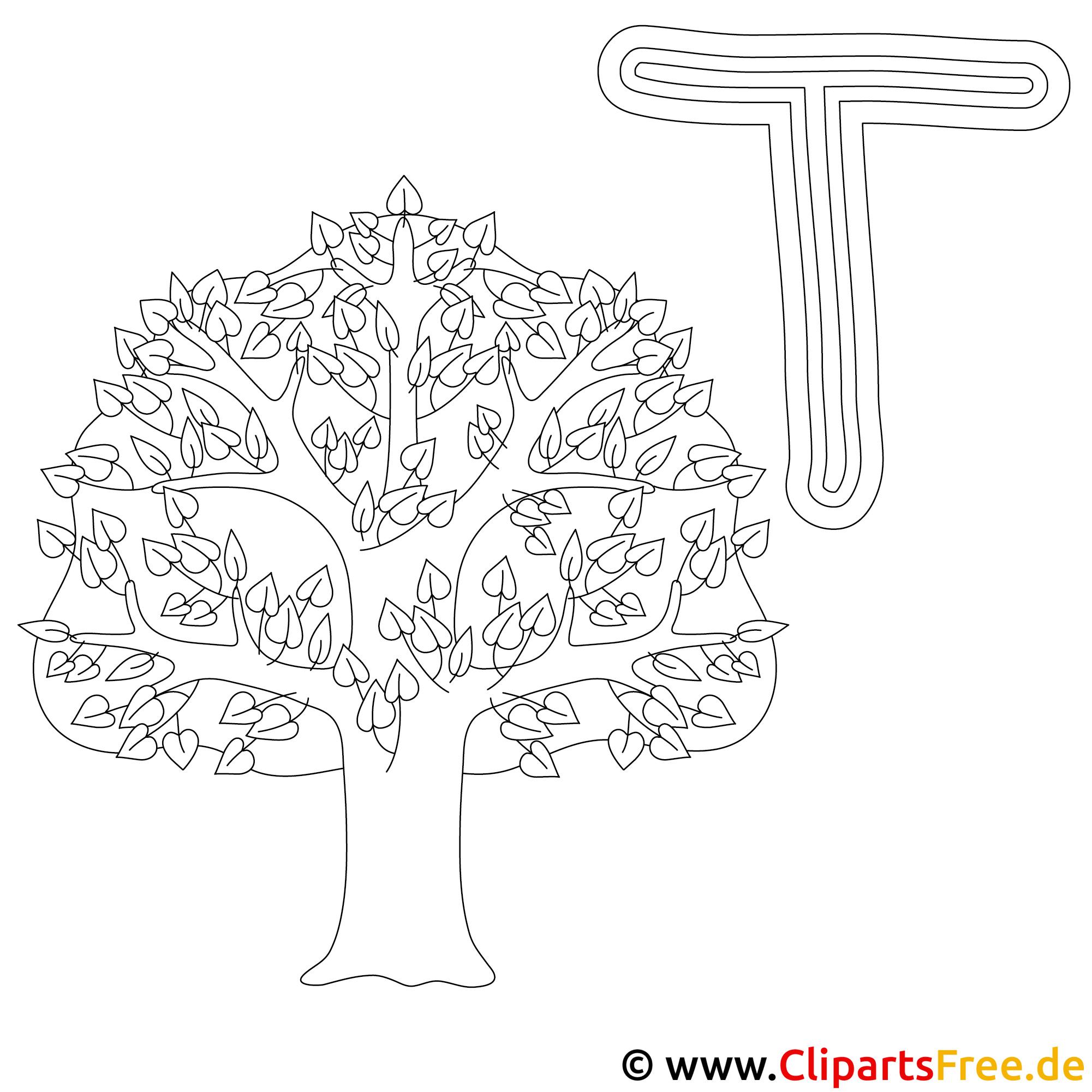 Tree - Buchstaben Vorlagen zum Ausmalen