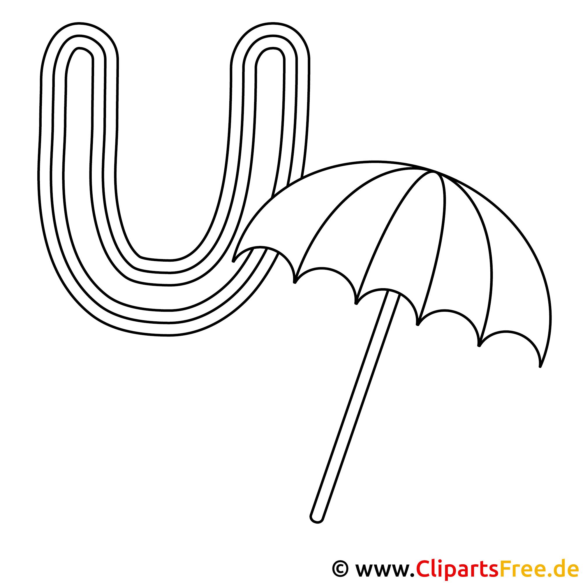 Umbrella - Buchstabe zum Ausdrucken