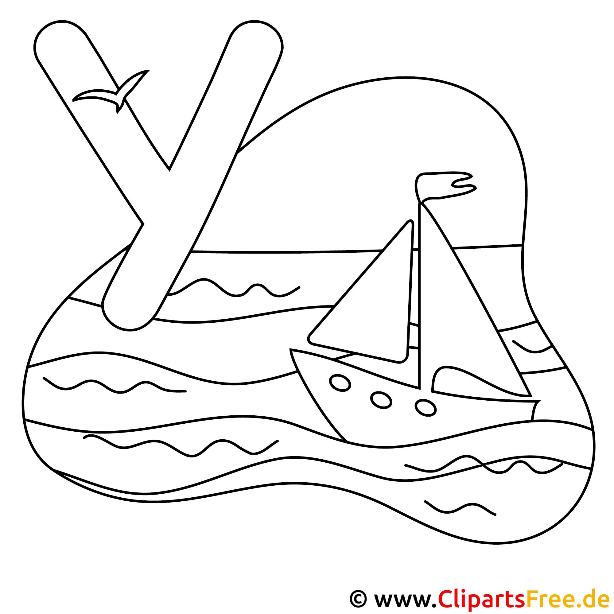 Yacht - Buchstaben zum Ausmalen
