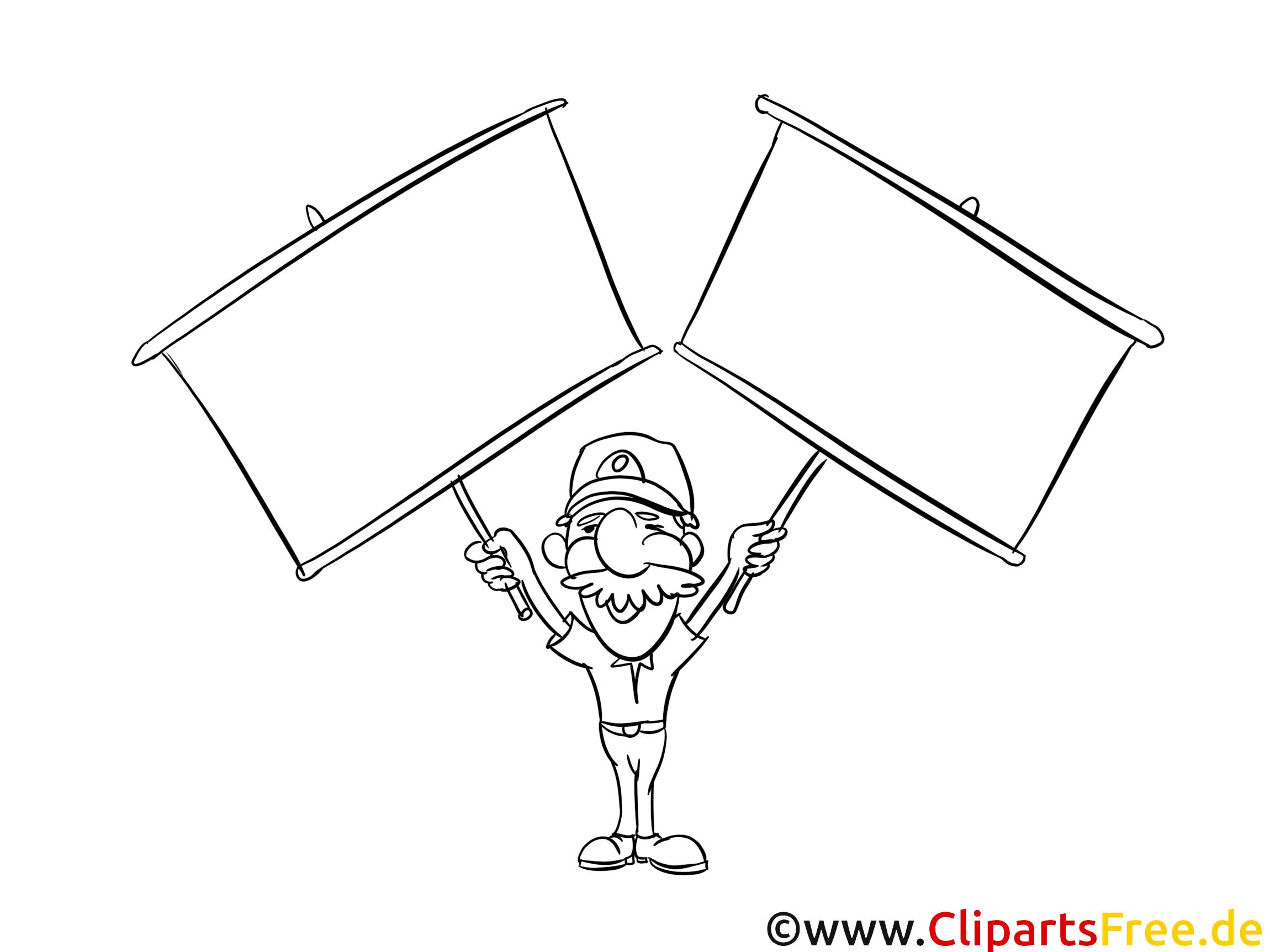 Mann mit zwei Plakaten Ausmalbild-Vorlage gratis