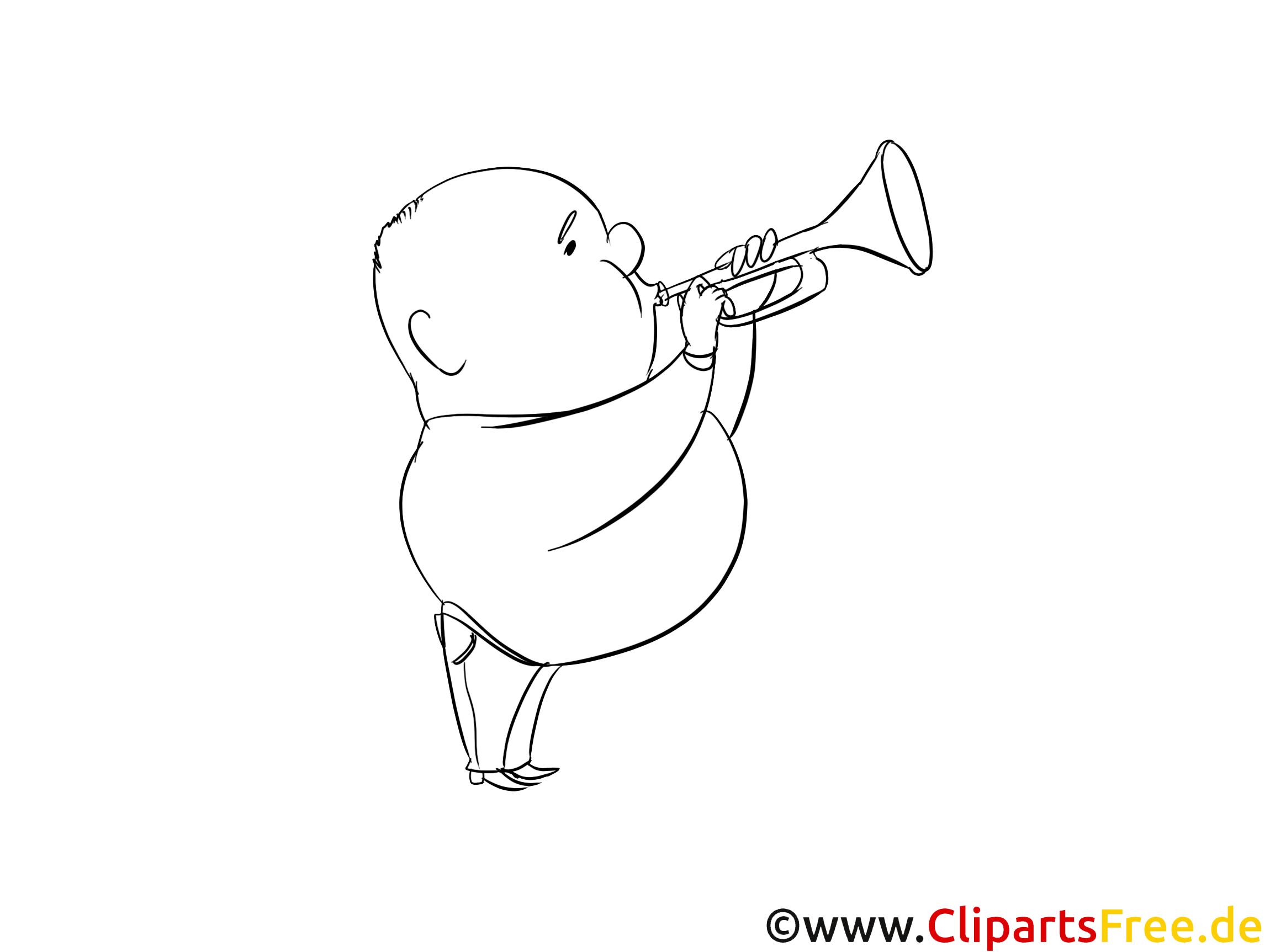 Trompeter Malvorlage-Bild kostenlos