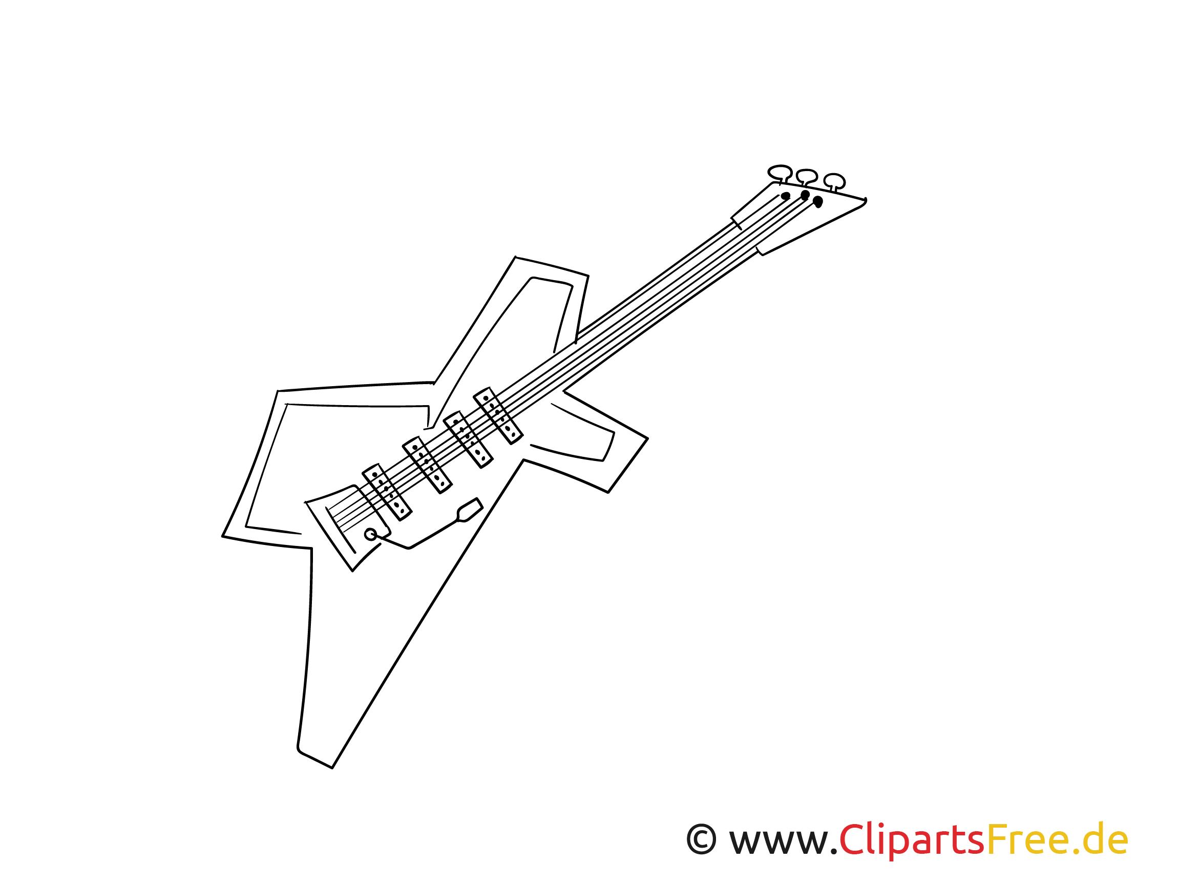 Elektro Gitarre Ausmalbild