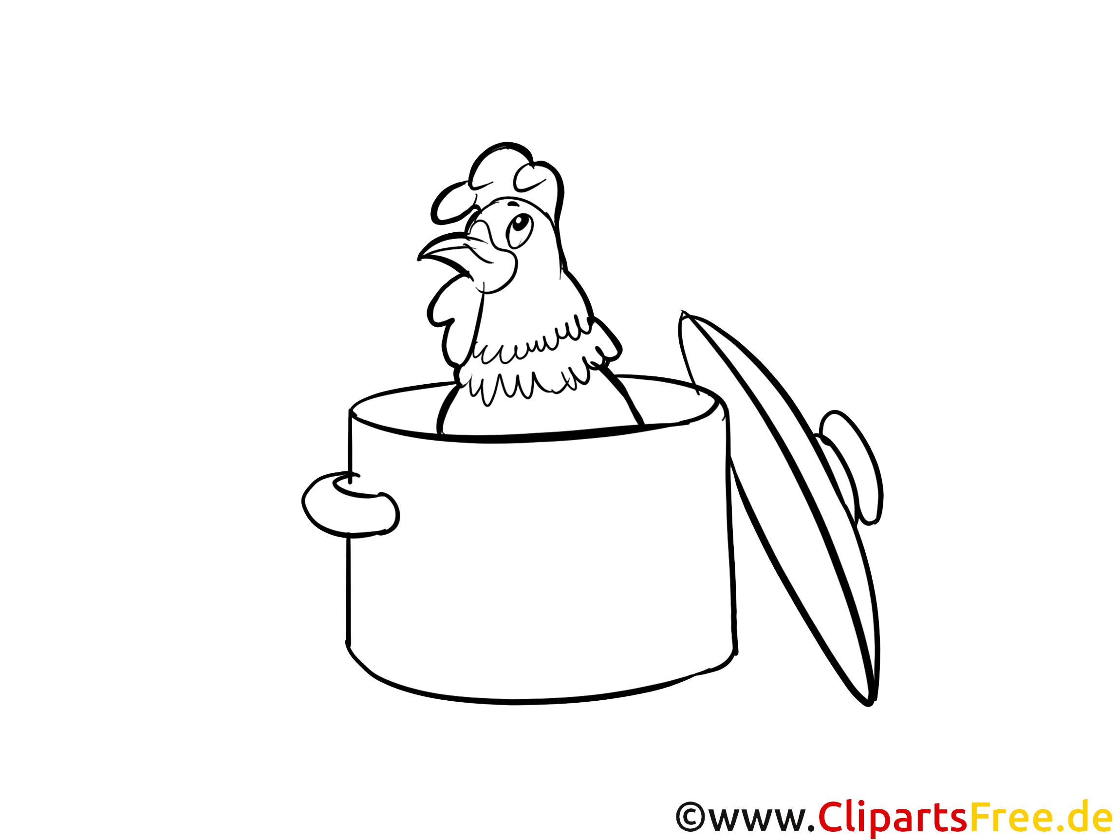 Huhn im Topf Bild-Malvorlage