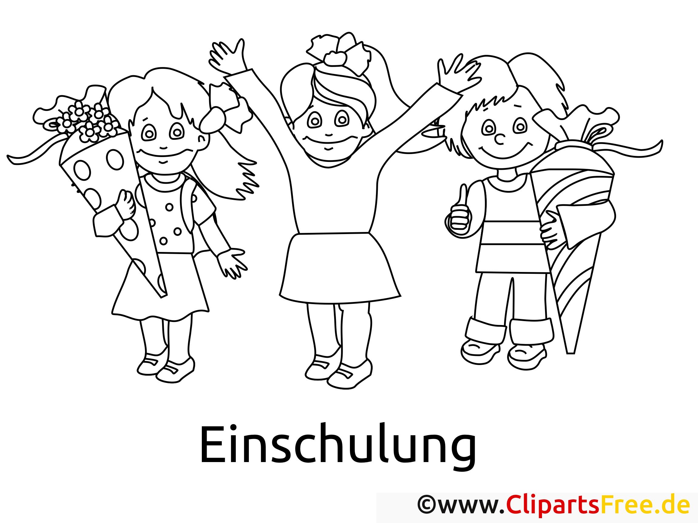 Ausmalbilder Einschulung mit Schuelern in der Schule