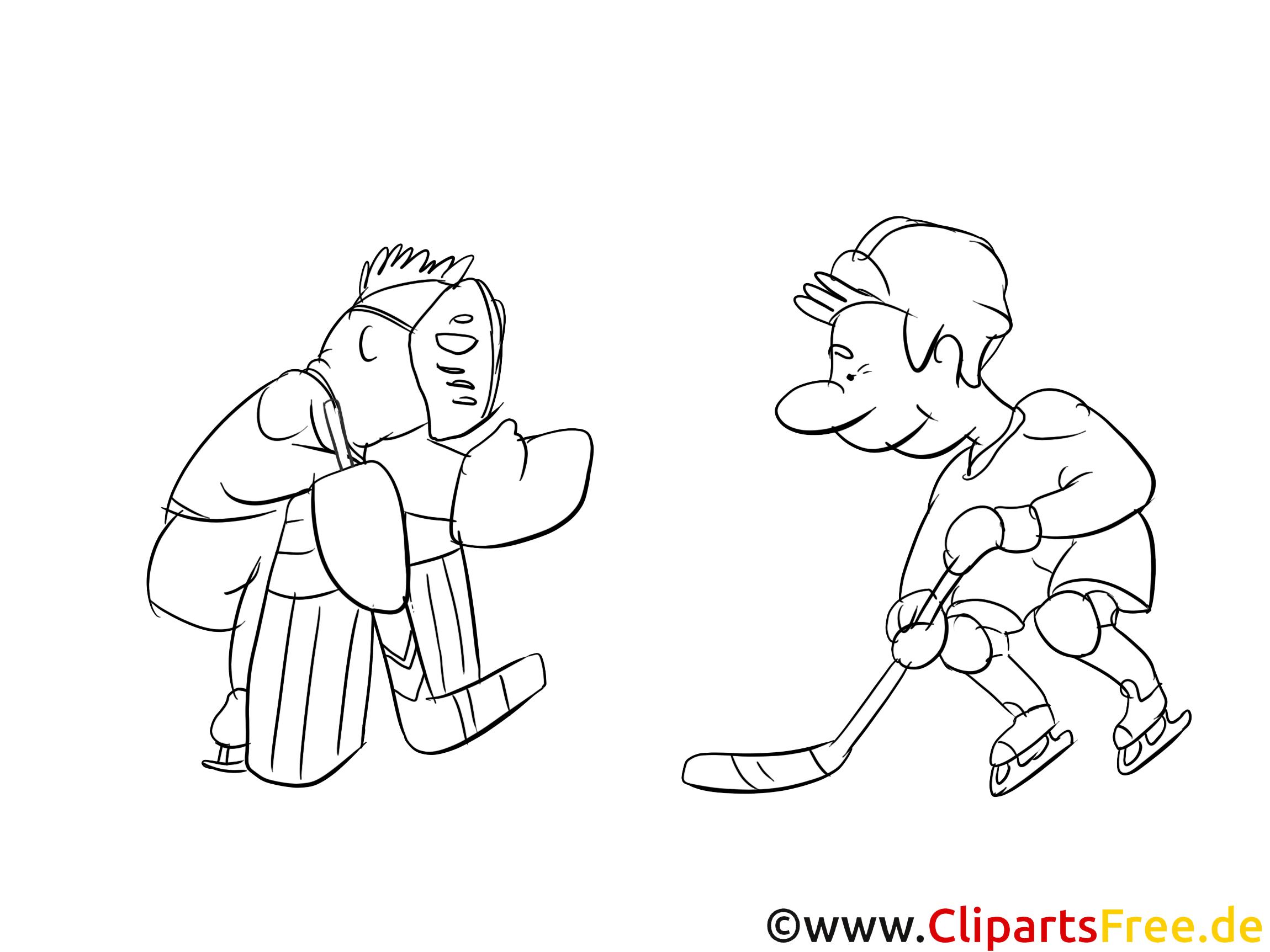 Comic Bild Eishockey zum Drucken und Ausmalen