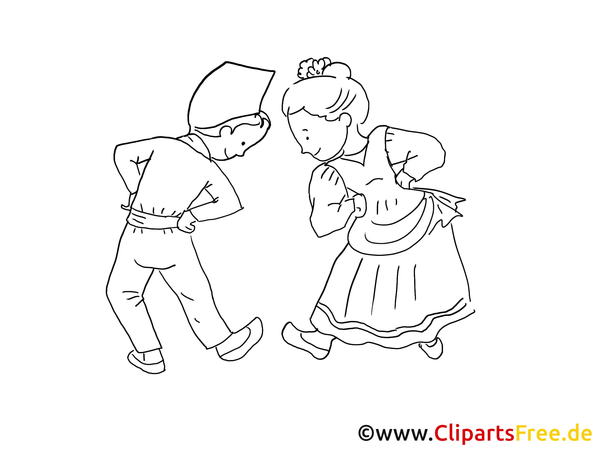 Tanzen in Trachten Malvorlagen Karneval