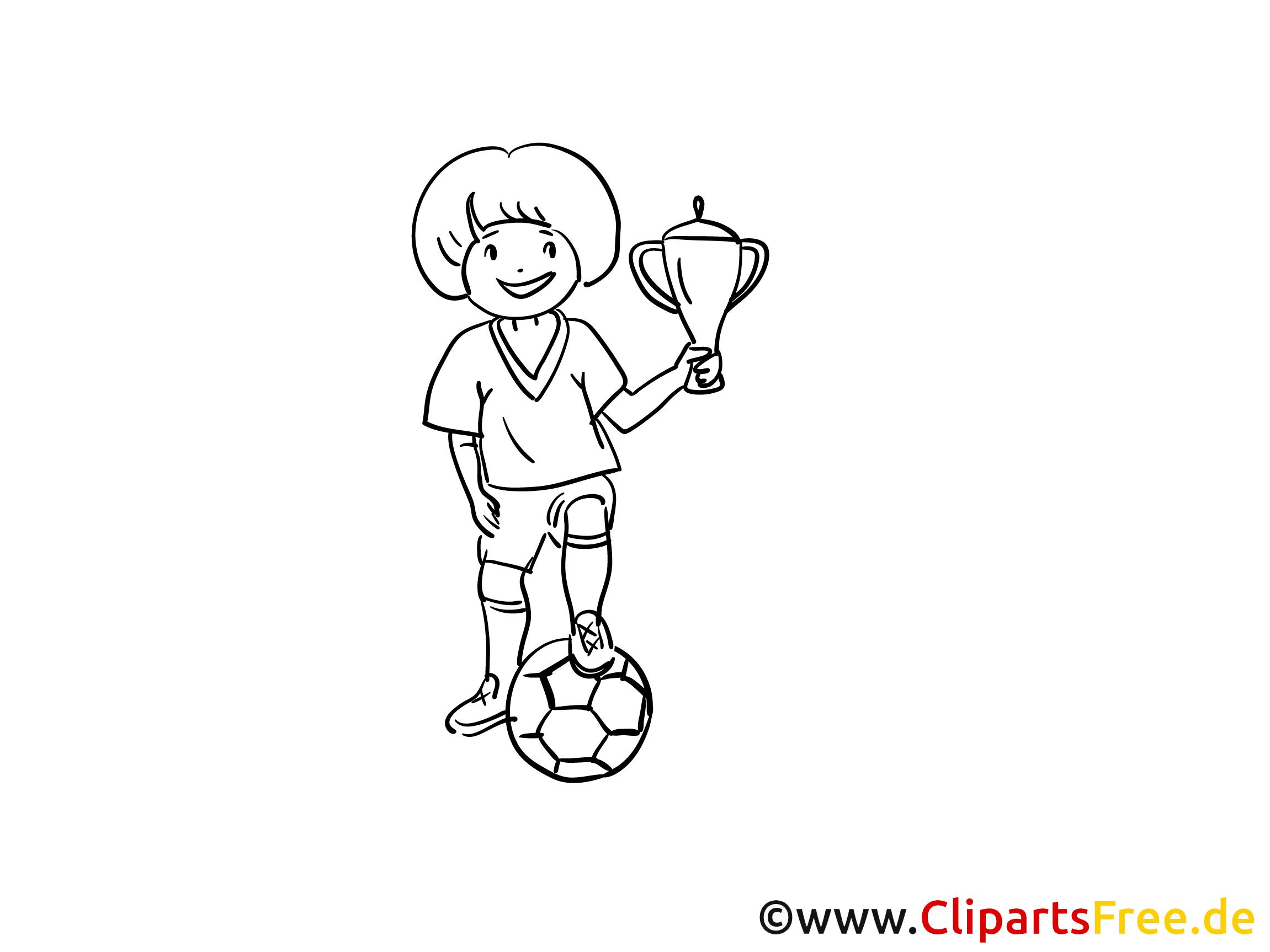 ausmalbild fussballspieler mit pokal gratis