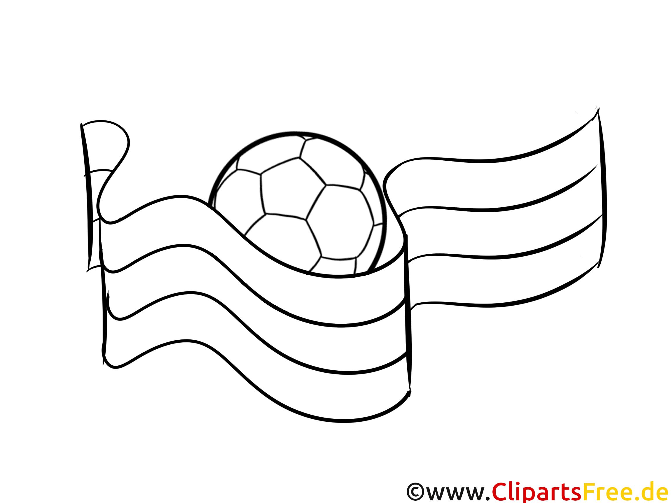 Flagge und Ball - Malvorlage zu Fussball EM und WM