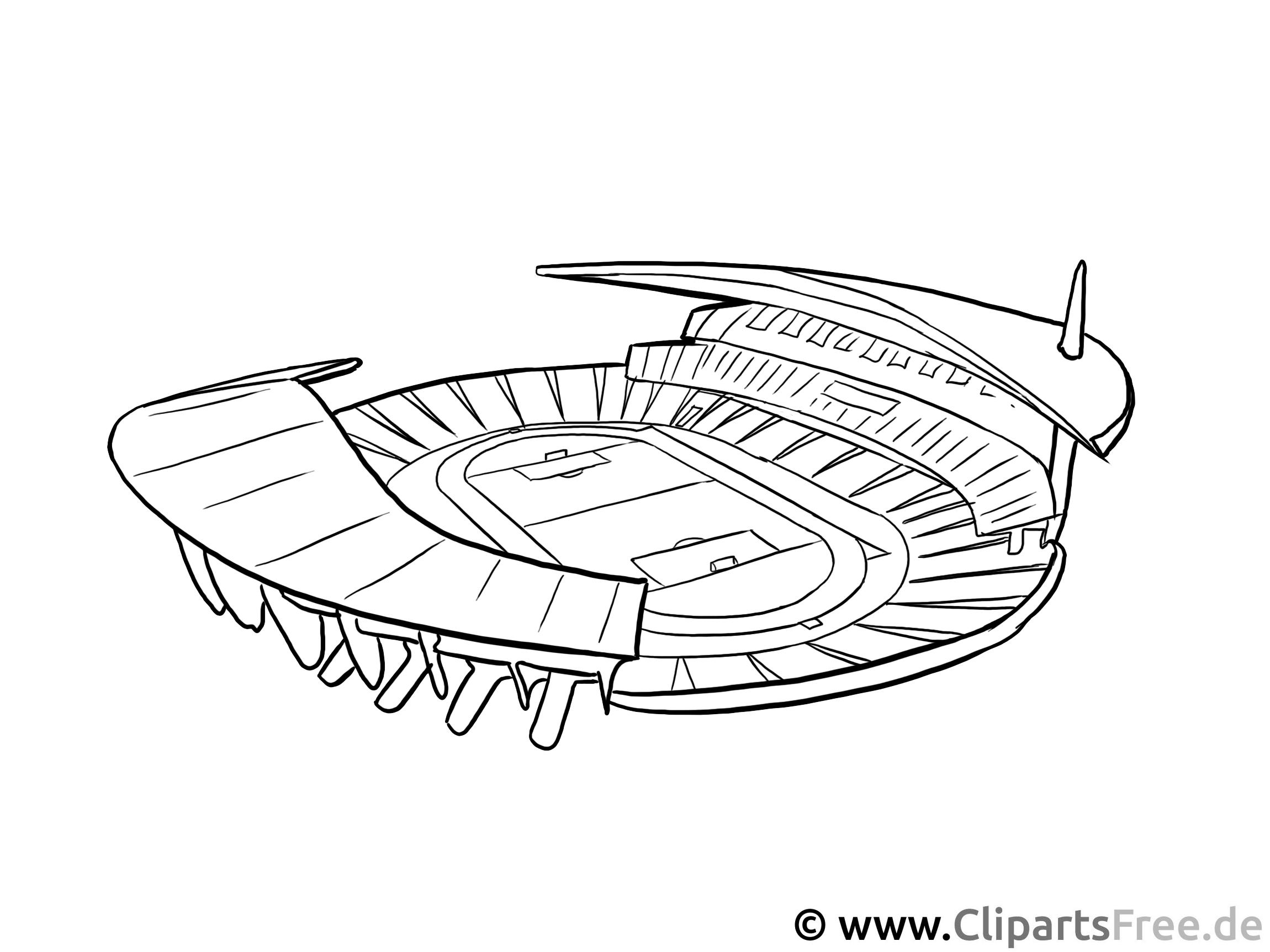 Fussball-Stadion - Kostenlose Malvorlagen, Ausmalbilder, Bastelarbeiten, Zeichnungen