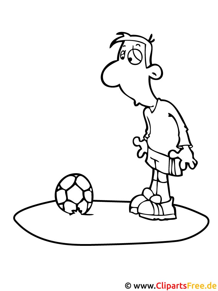 Fussballer Cartoonbild zum Ausmalen kostenlos