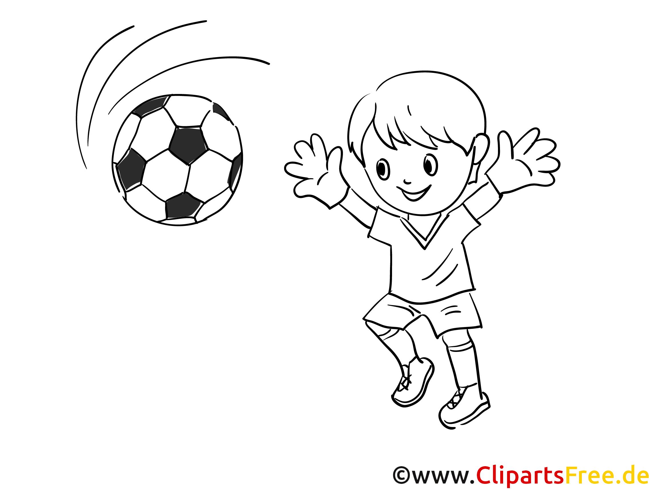 junge spielt fussball malvorlage gratis