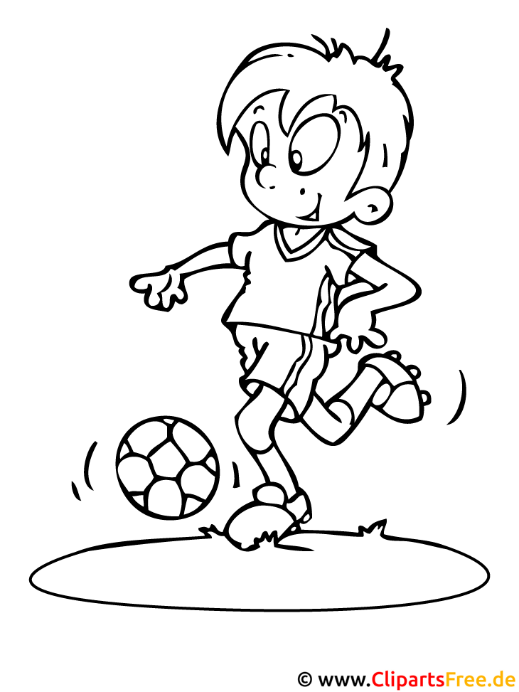 Kind spielt Fussball - Fussball Ausmalbilder