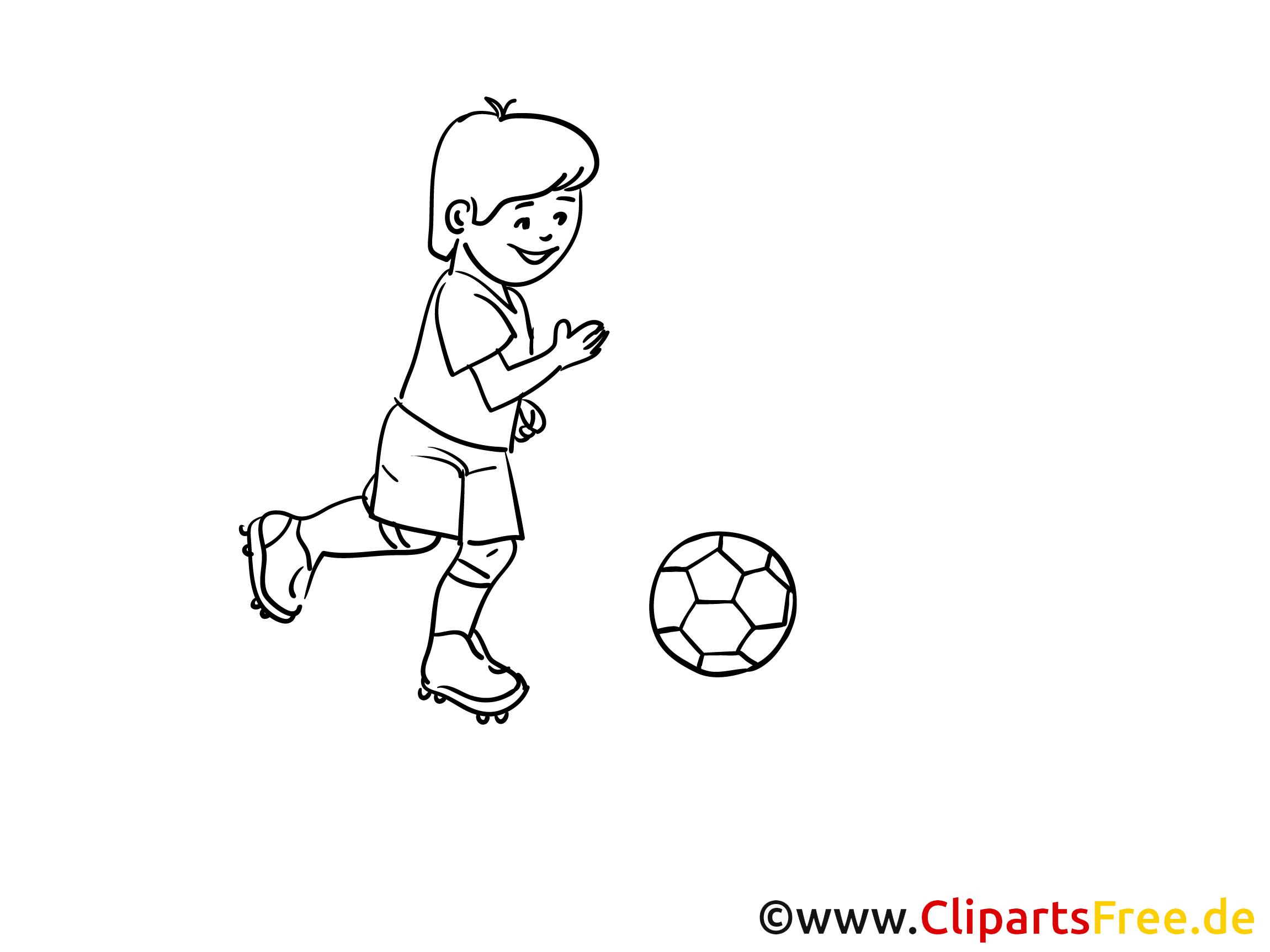 Kind spielt Fussball Malvorlage