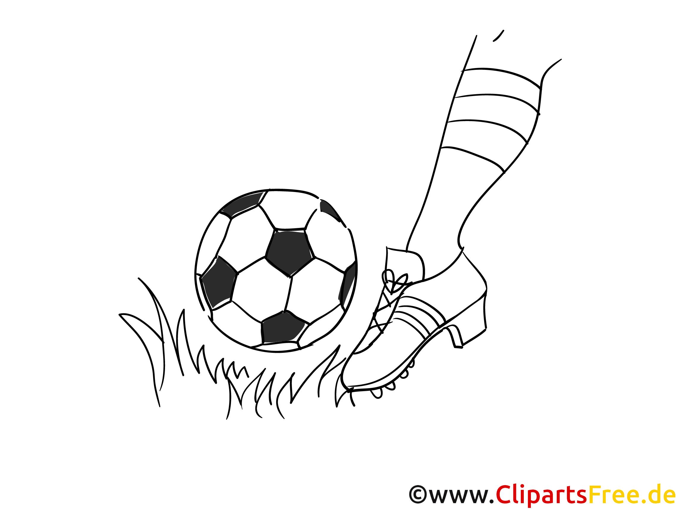 Schuss Fussball Bild zum Ausmalen