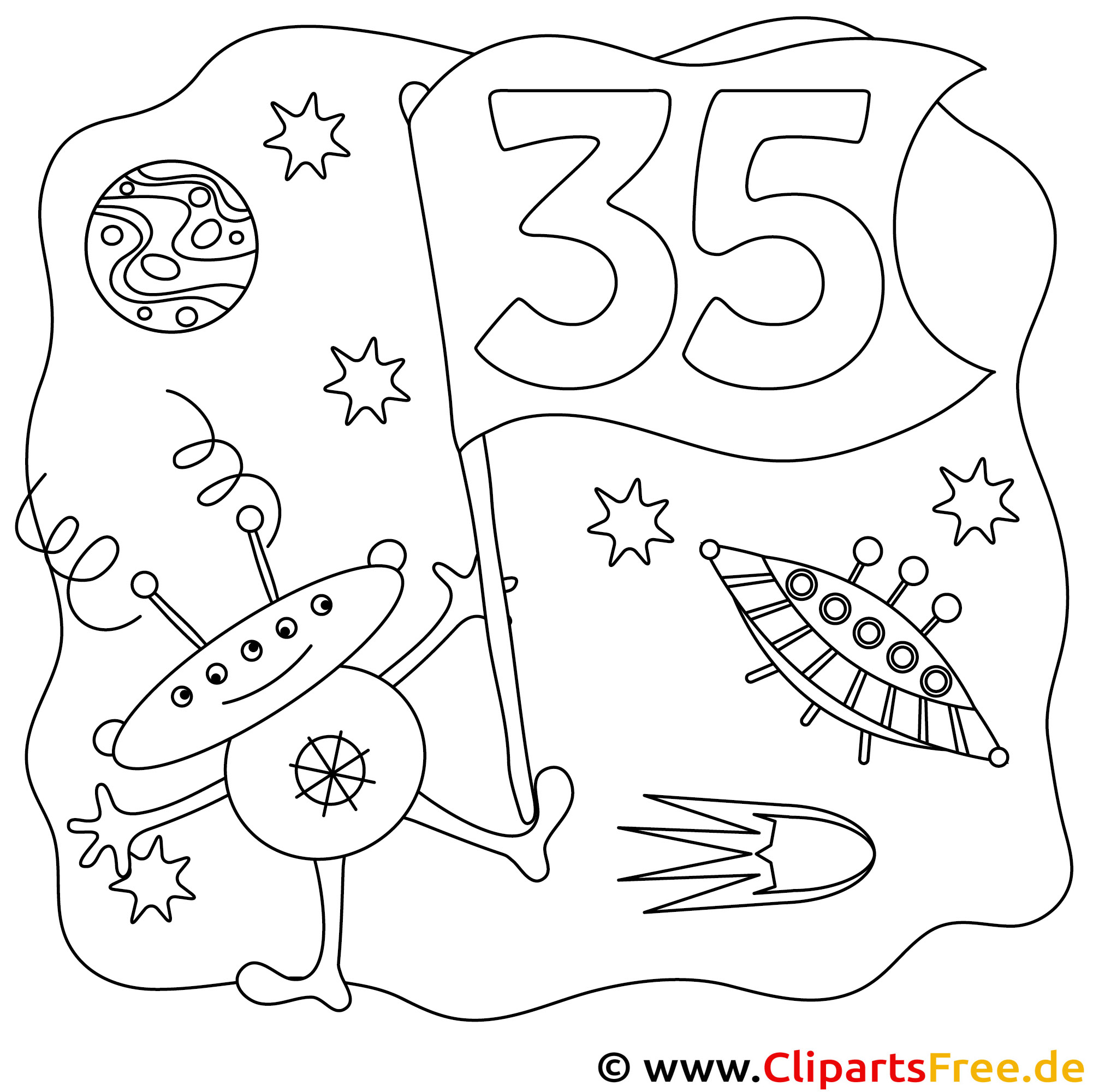 Alien Ausmalbild zum Geburtstag