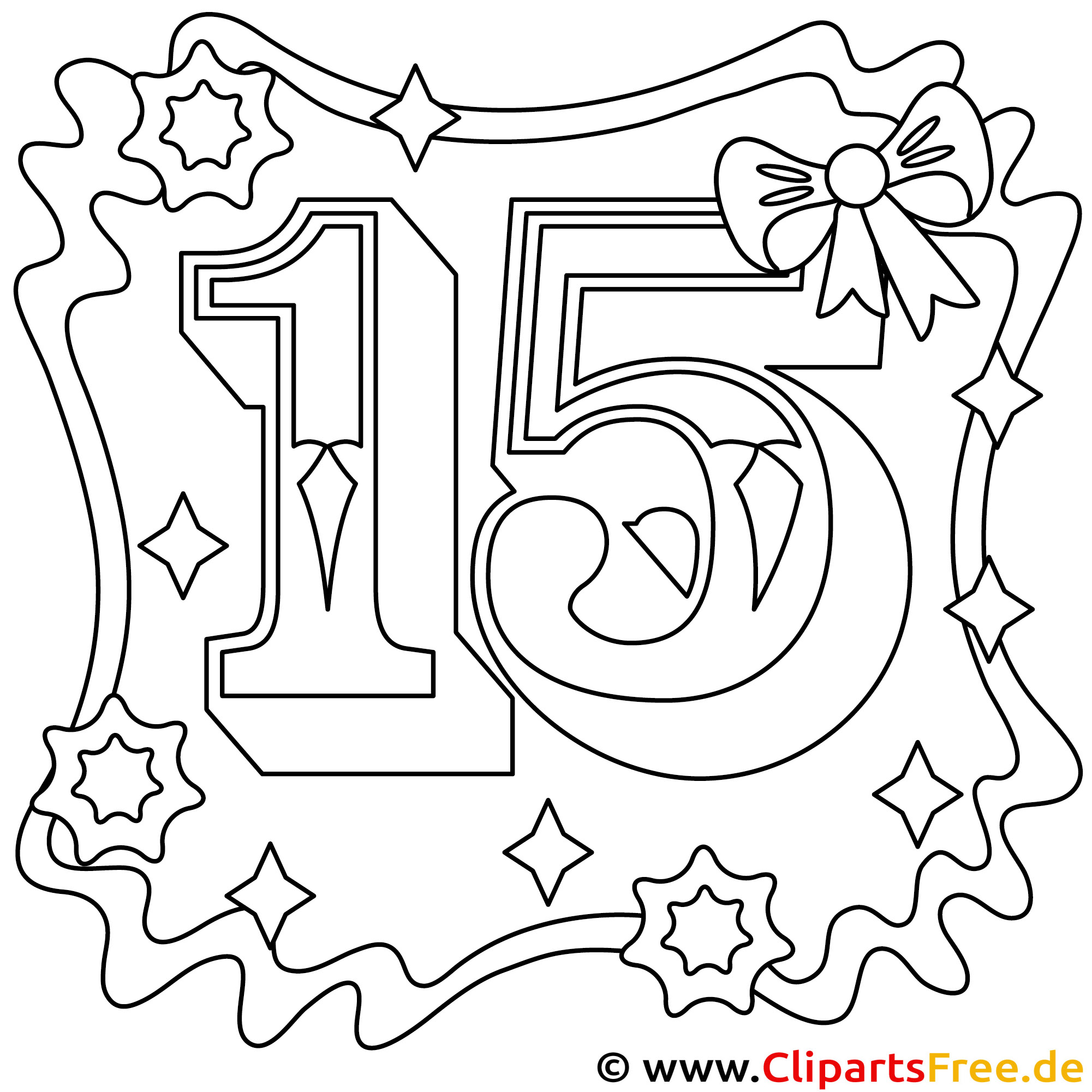 Ausmalbild zum 15 Geburtstag