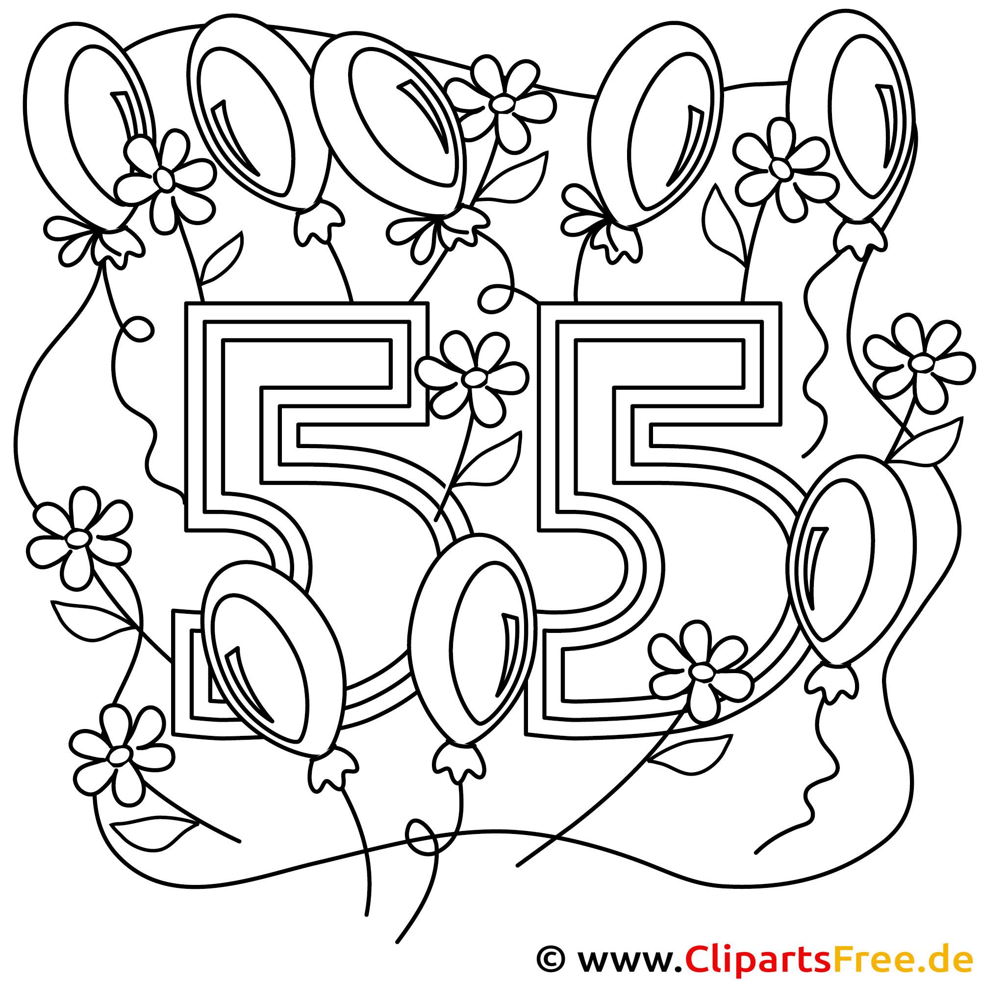 Ausmalbild zum 55 Geburtstag