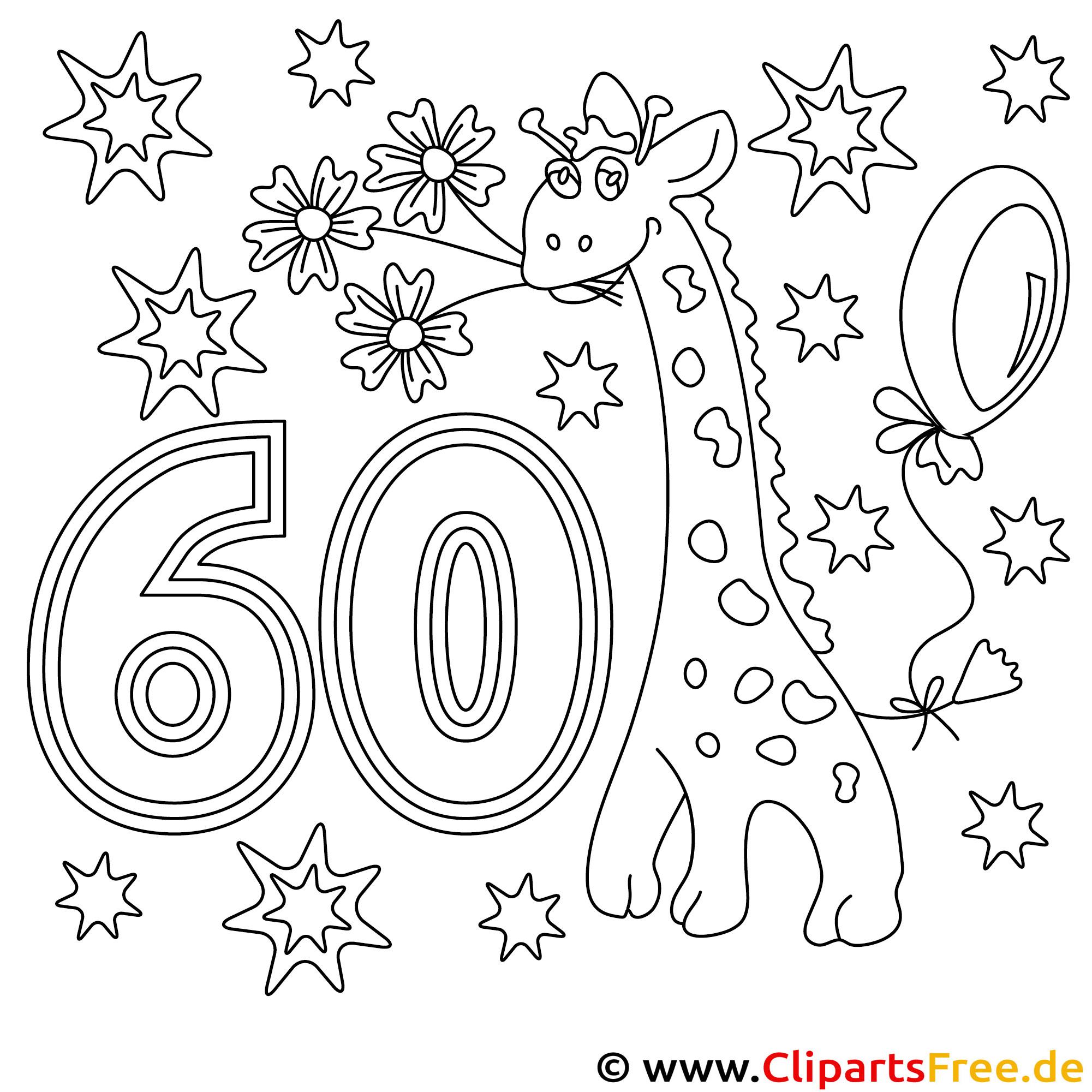 Ausmalbild zum 60. Geburtstag