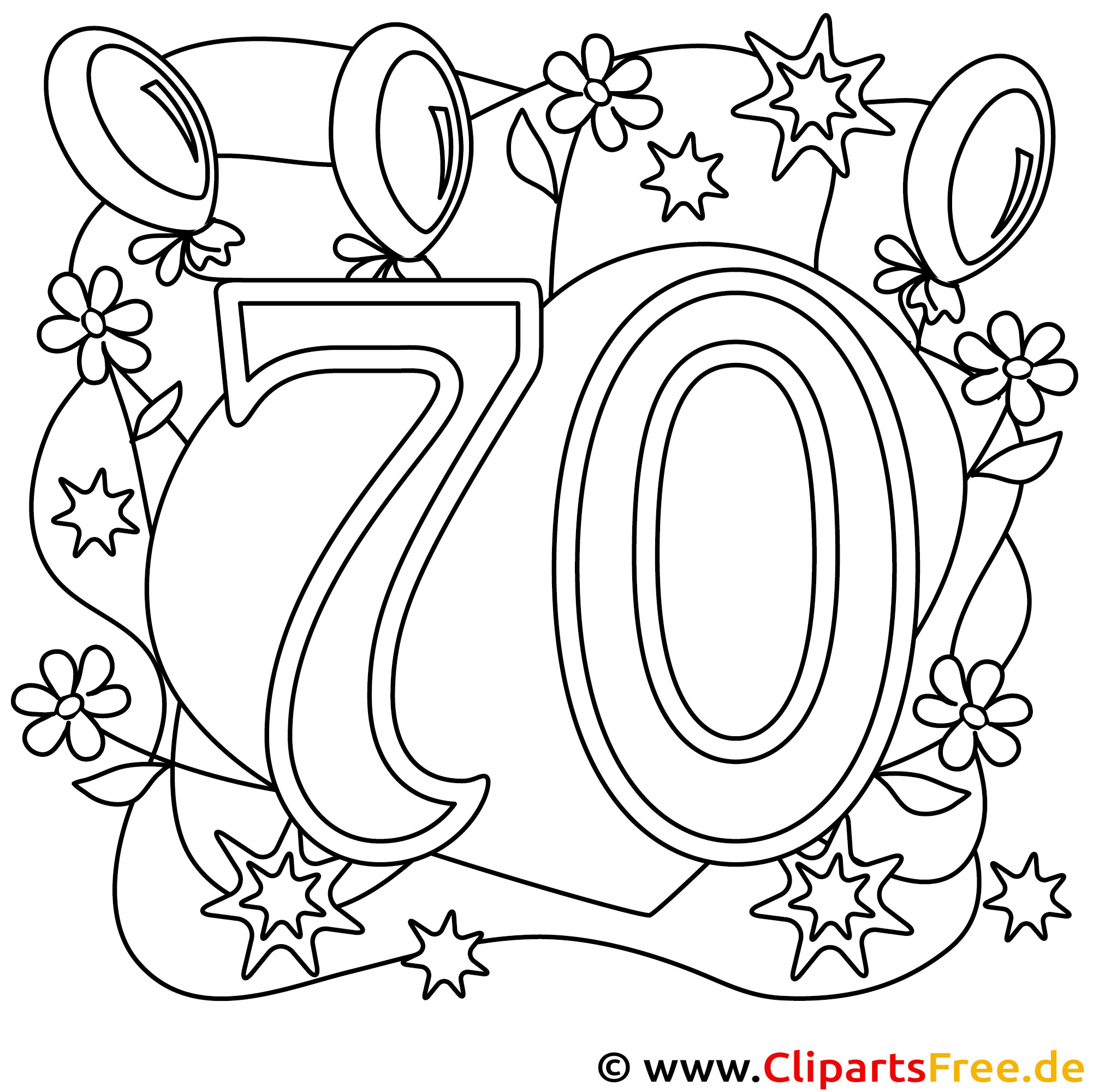 Ausmalbild zum 70 Geburtstag