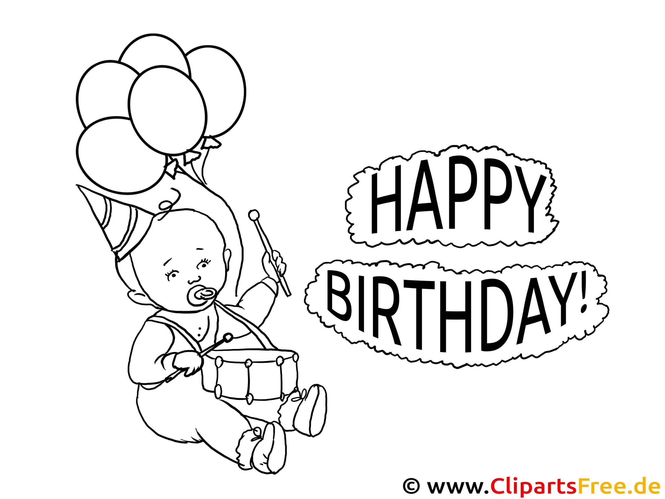 Ausmalbild zum Drucken Happy Birthday