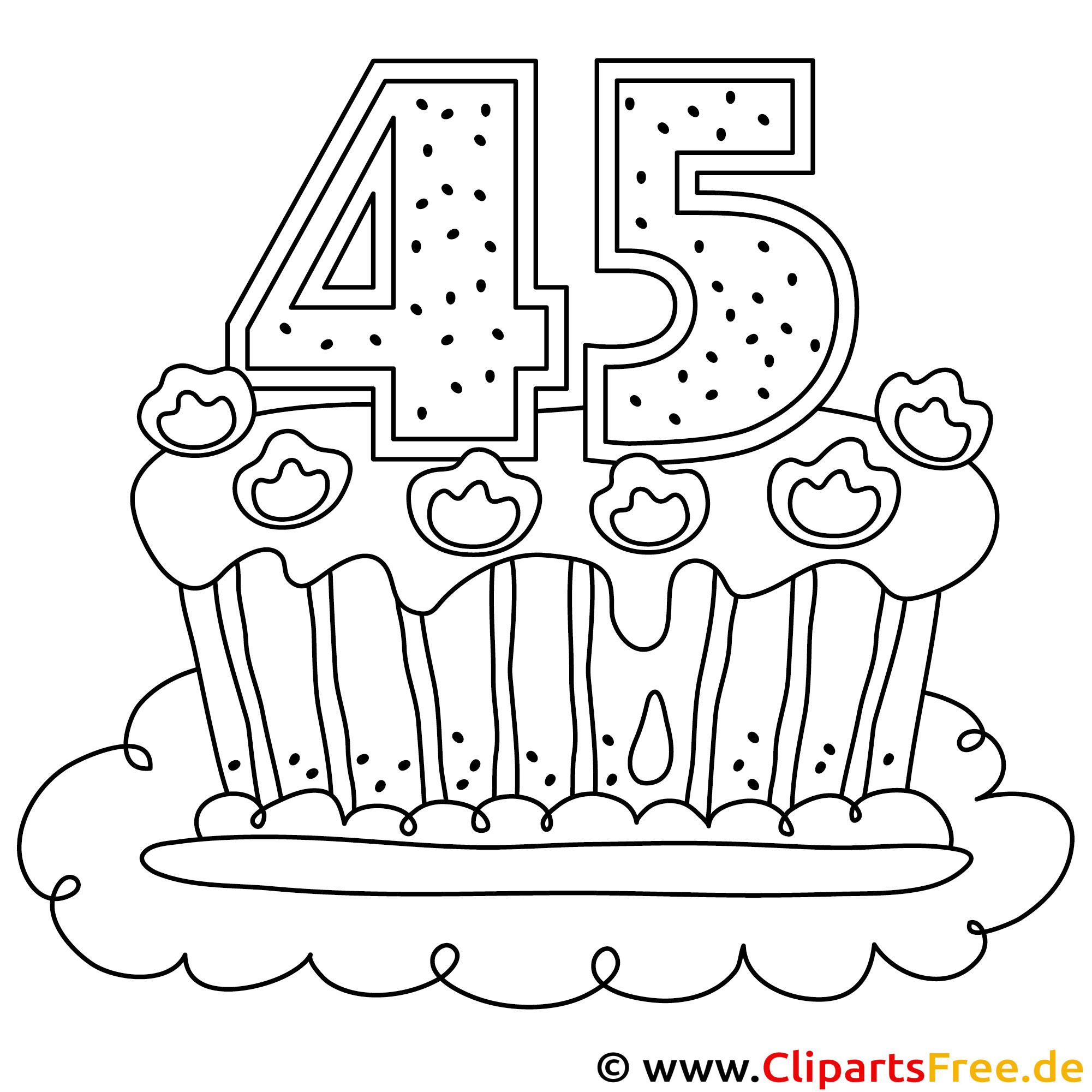 Ausmalbild zum Geburtstag - Geburtstagskuchen