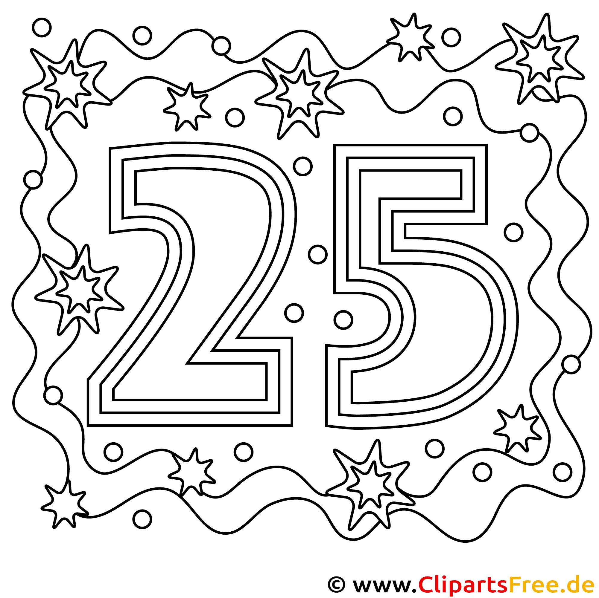 Bild zum Ausmalen zum 25 Geburtstag