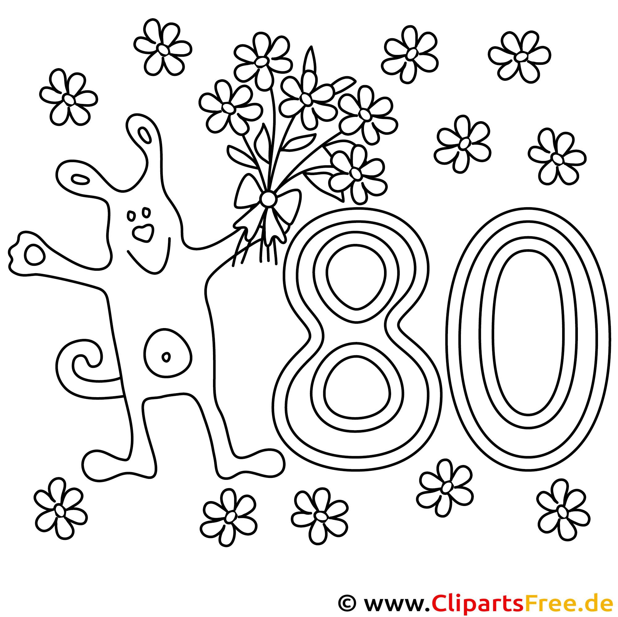 Cartoon Hund mit Blumen Bild zum Ausmalen zum 80 Geburtstag