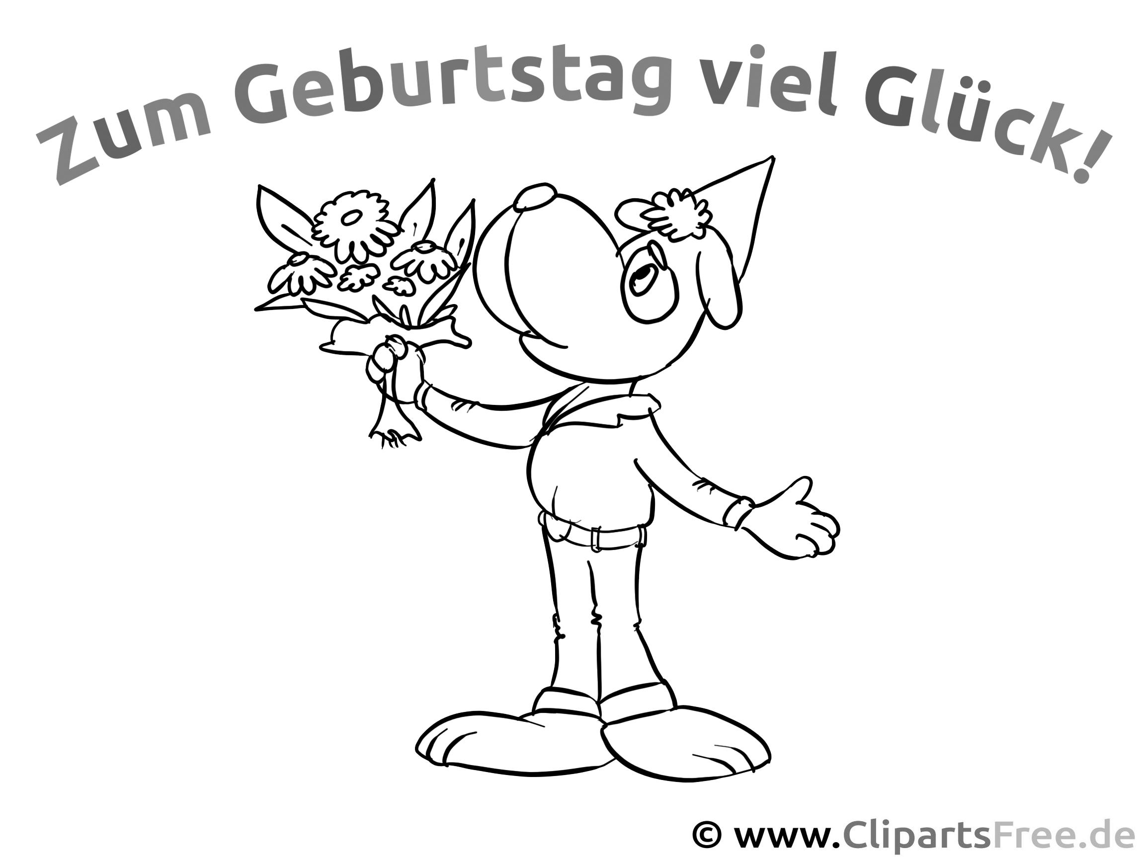 Cartoonhund Malvorlage PDF zum Geburtstag