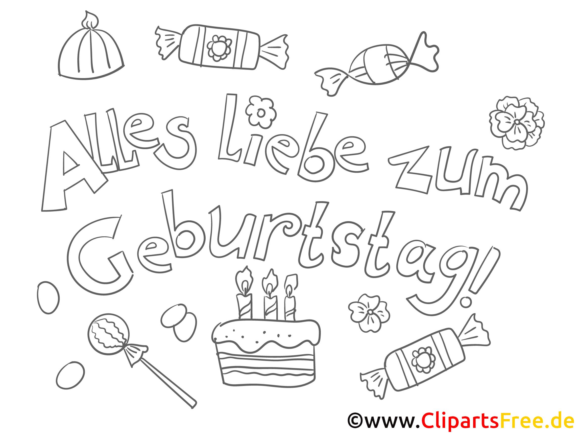 Essen Geburtstag PDF Ausmalbild-Grußkarte