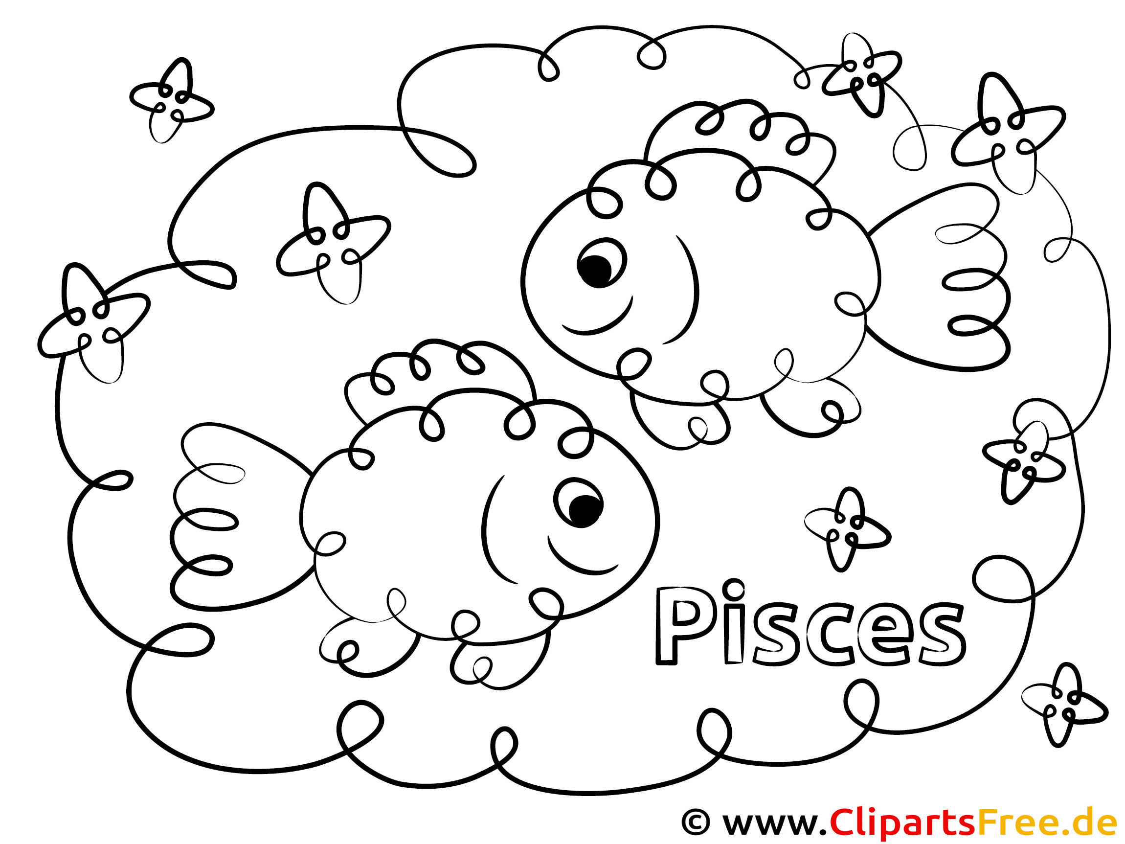 Fische Sternzeichen Ausmalbild für Kinder kostenlos ausdrucken