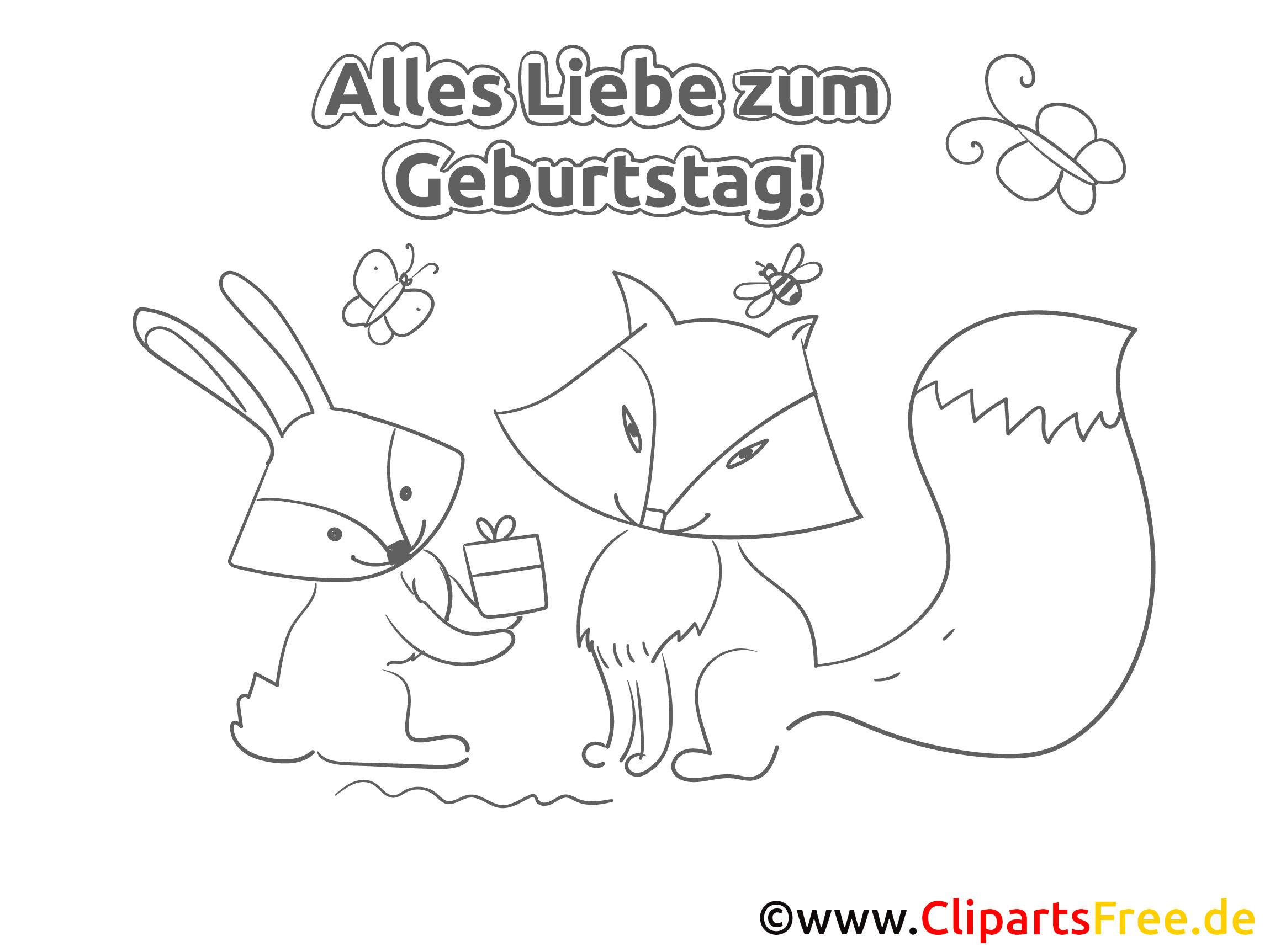 Fuchs Hase Geburtstag Ausmalbild-Grusskarte