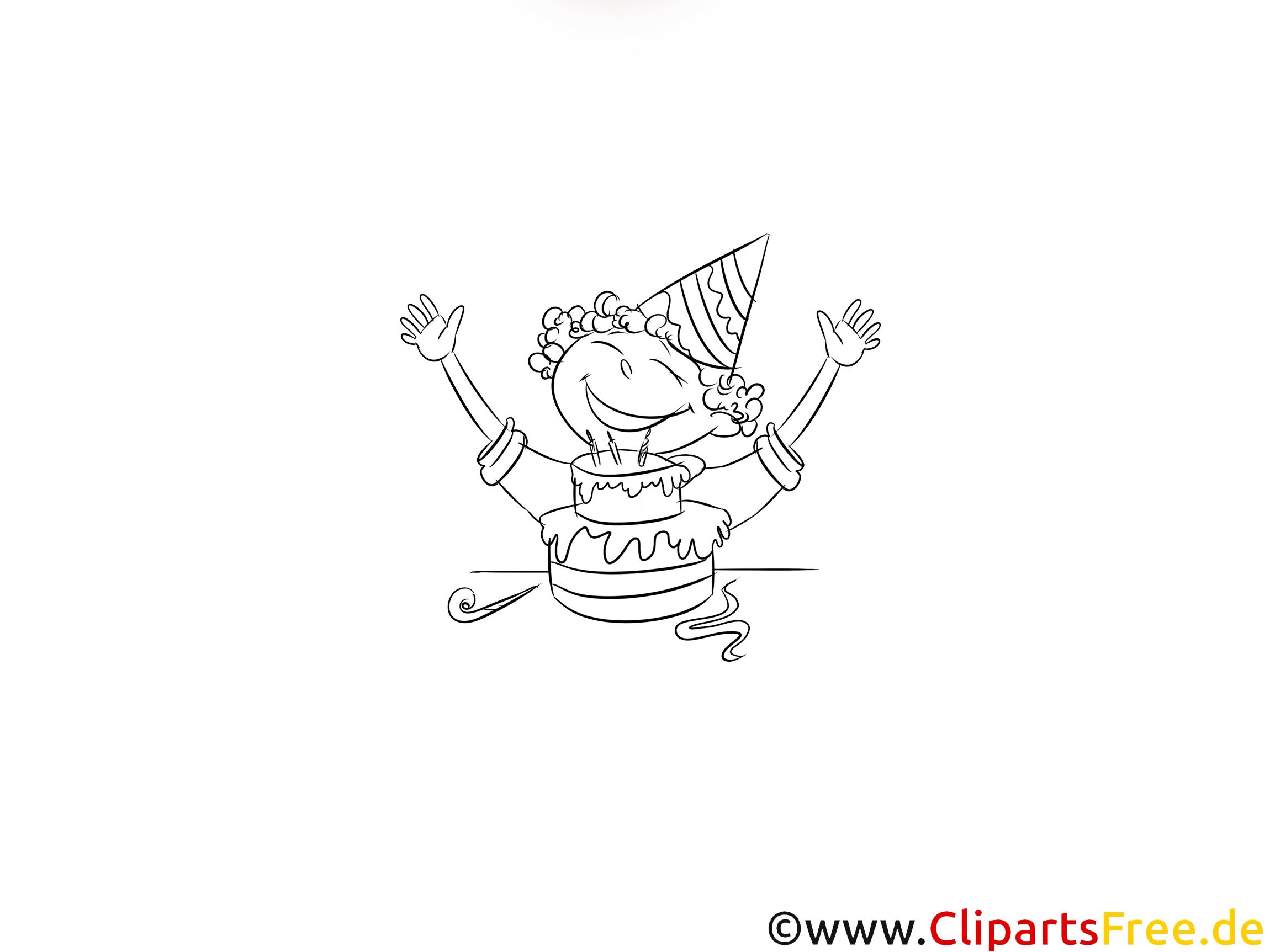 Geburtstagskind Bild PDF schwarz-weiss zum Ausmalen, Drucken