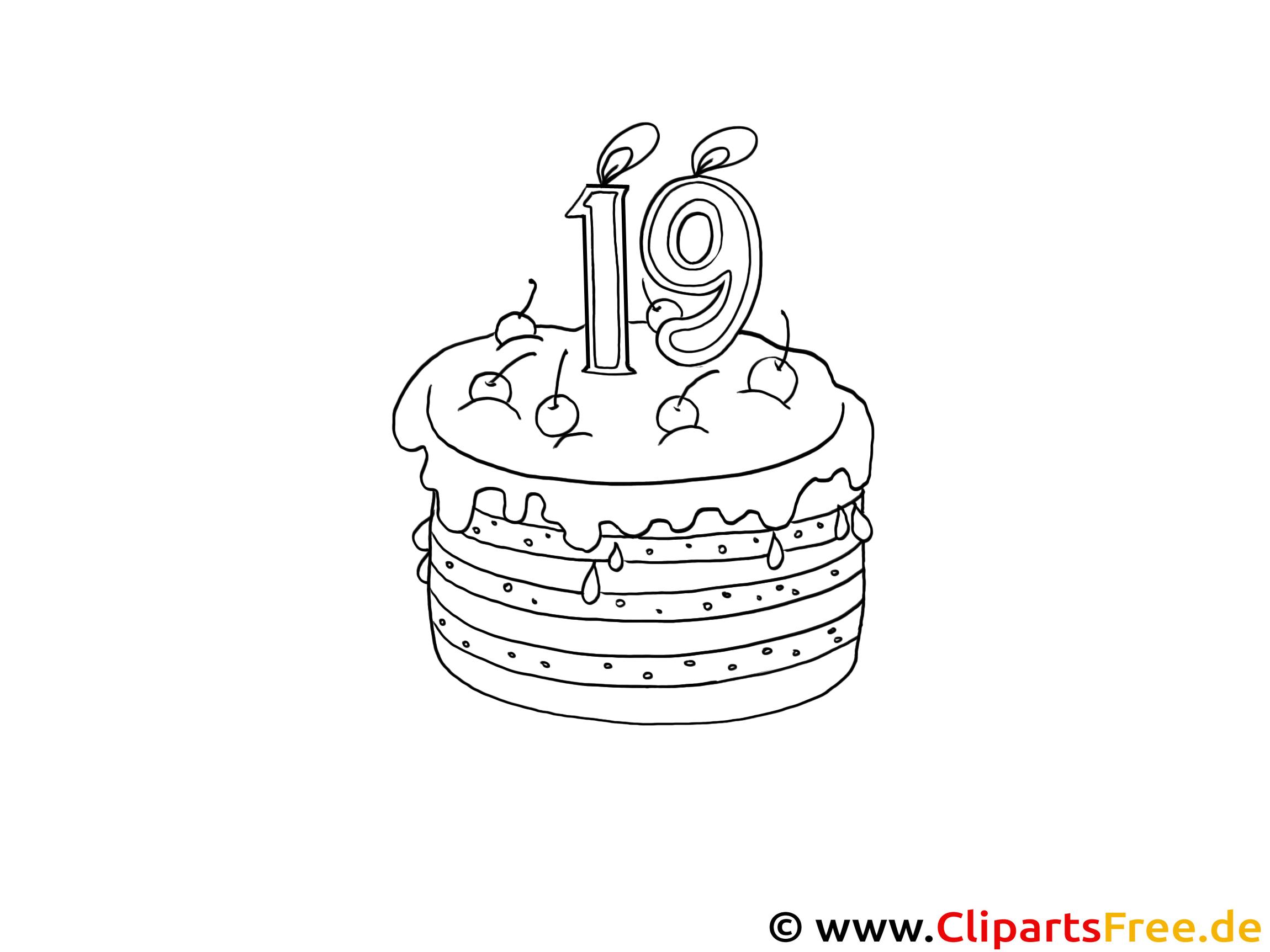 Geburtstagstorte - Kostenlose Ausmalbilder für Kinder