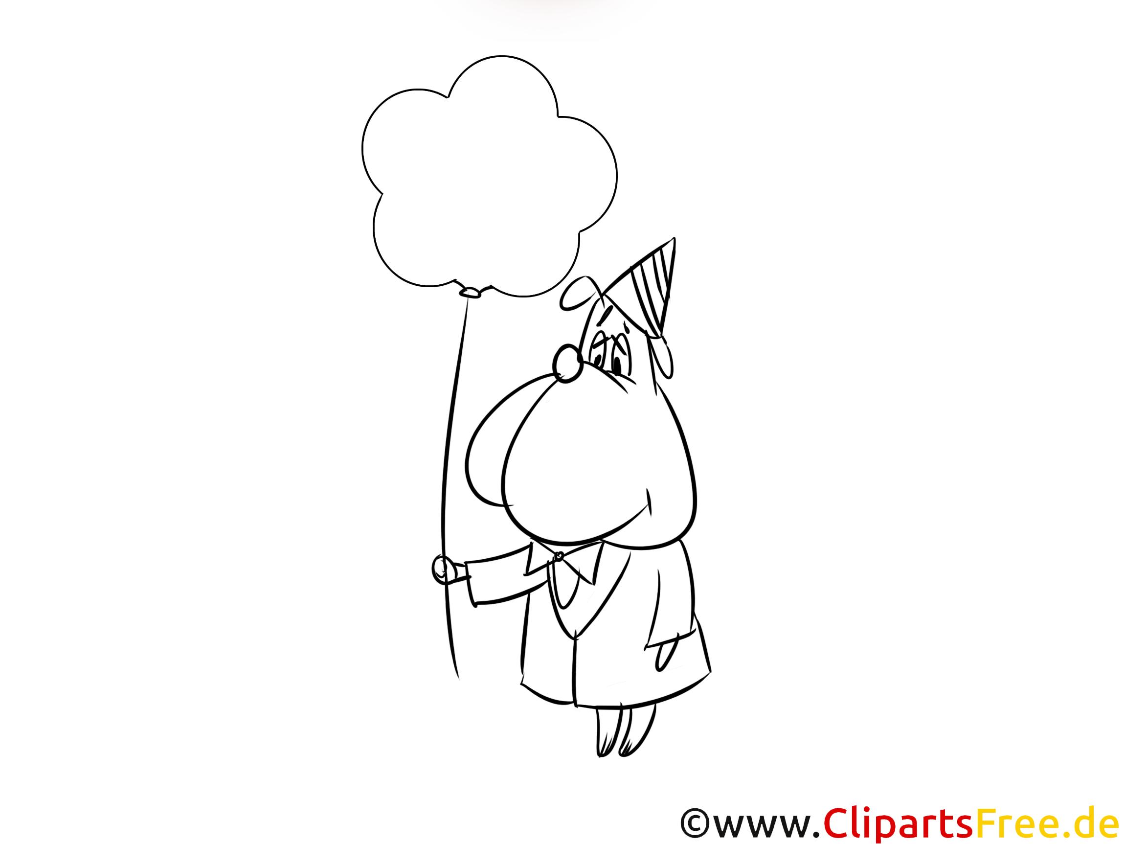 Happy Birthday Bild schwarz-weiss zum Ausmalen, Drucken