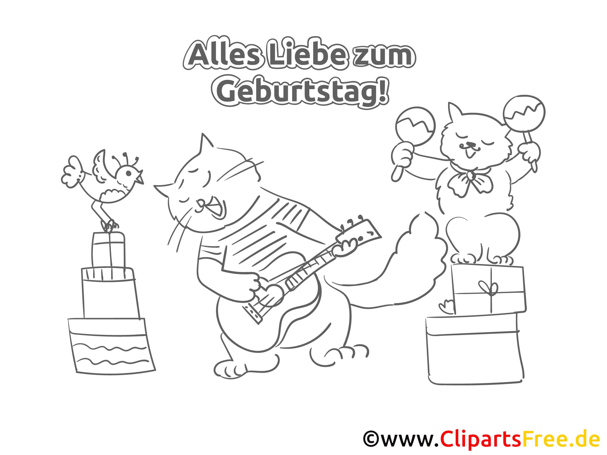Katzen machen Musik Malvorlage zum Geburtstag