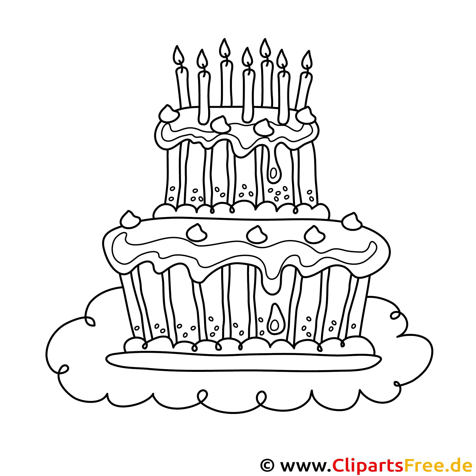 Kuchen mit Kerzen Bild zum Ausmalen, Malvorlage, Ausmalbild
