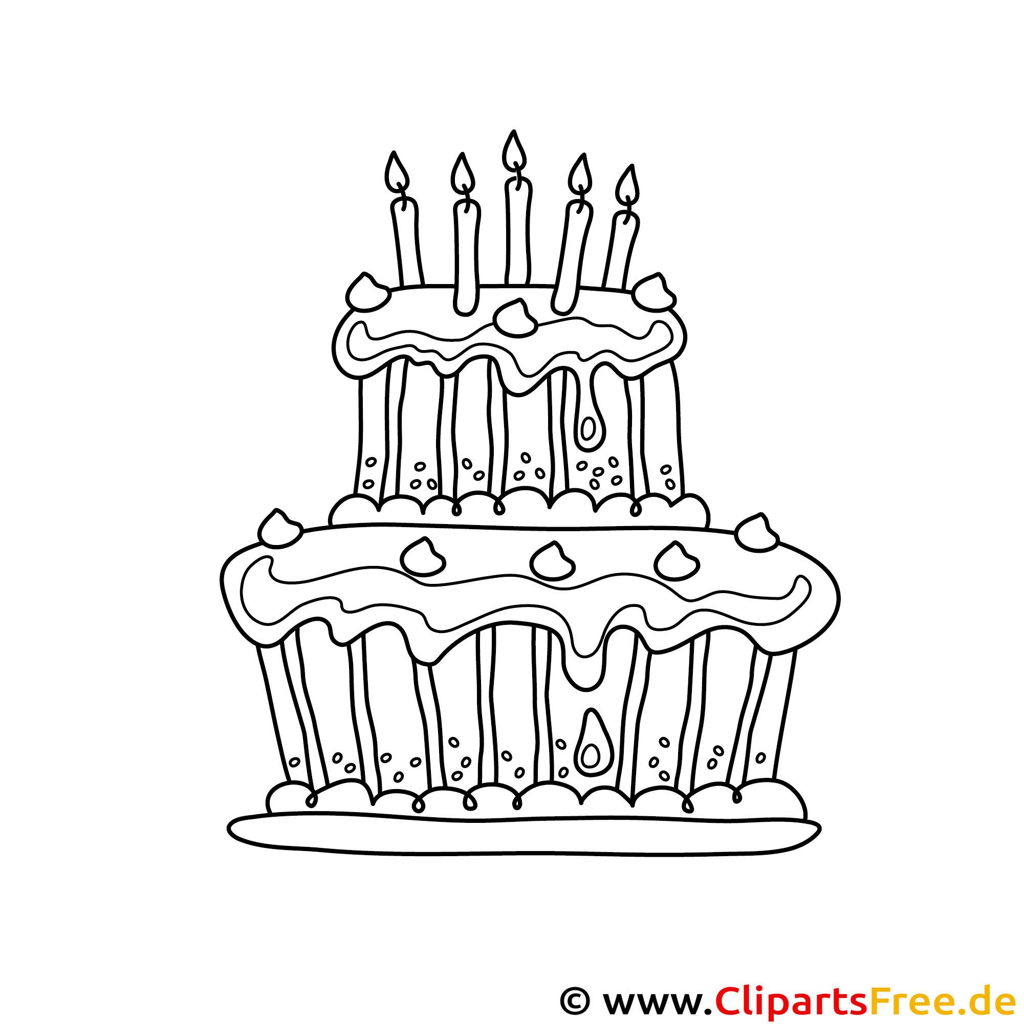 Kuchen mit Kerzen Malvorlage gratis