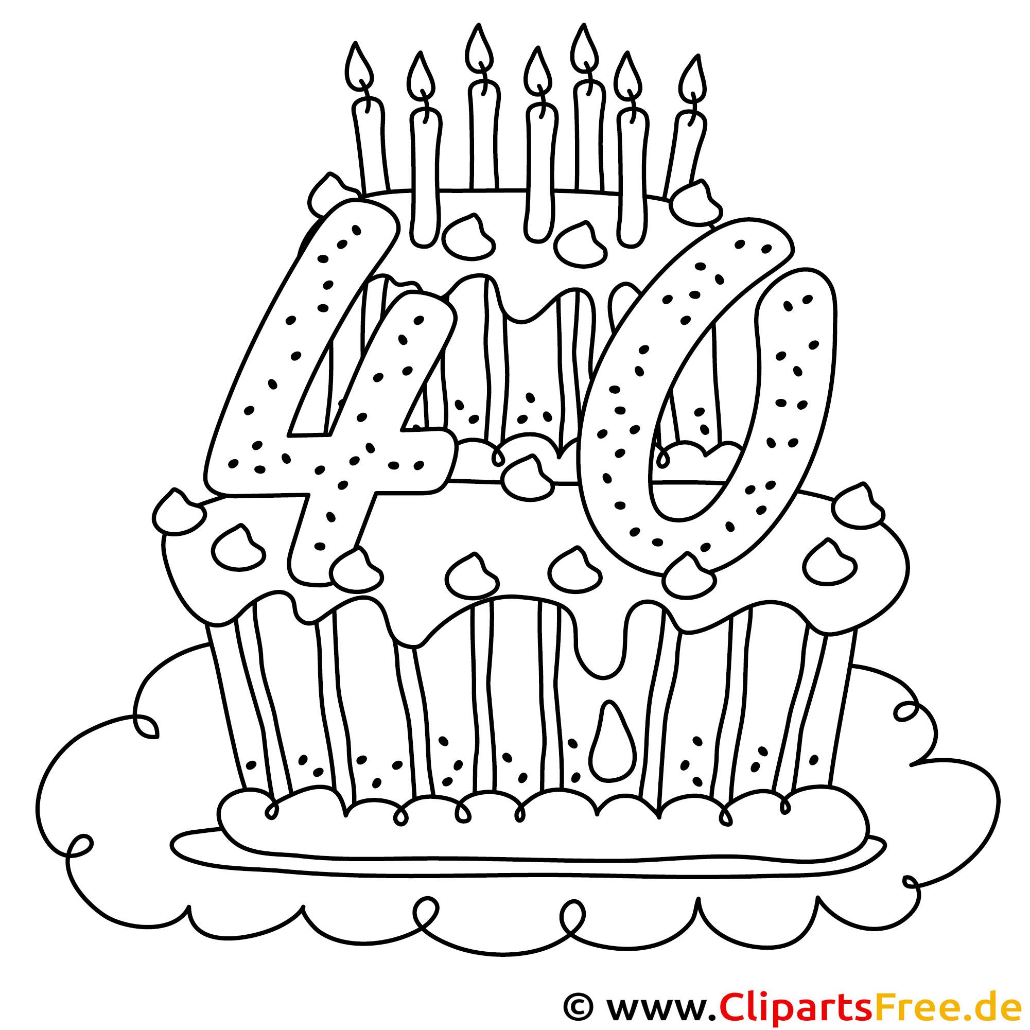 Kuchen zum 40 Geburtstag Ausmalbild