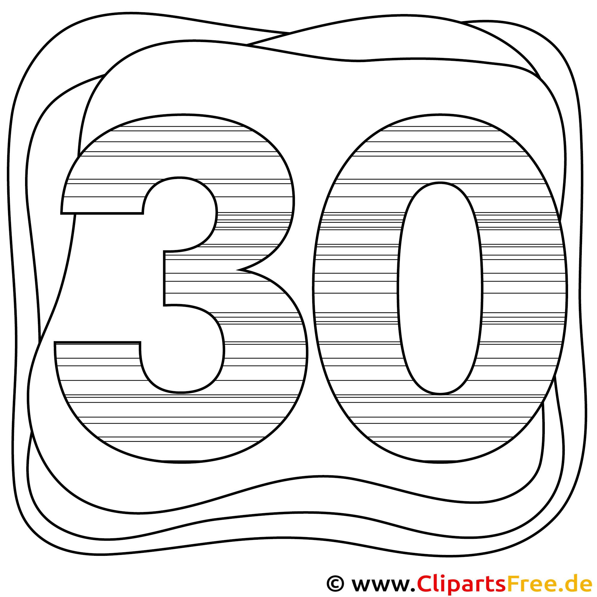 Malvorlage Zahl 30 PDF