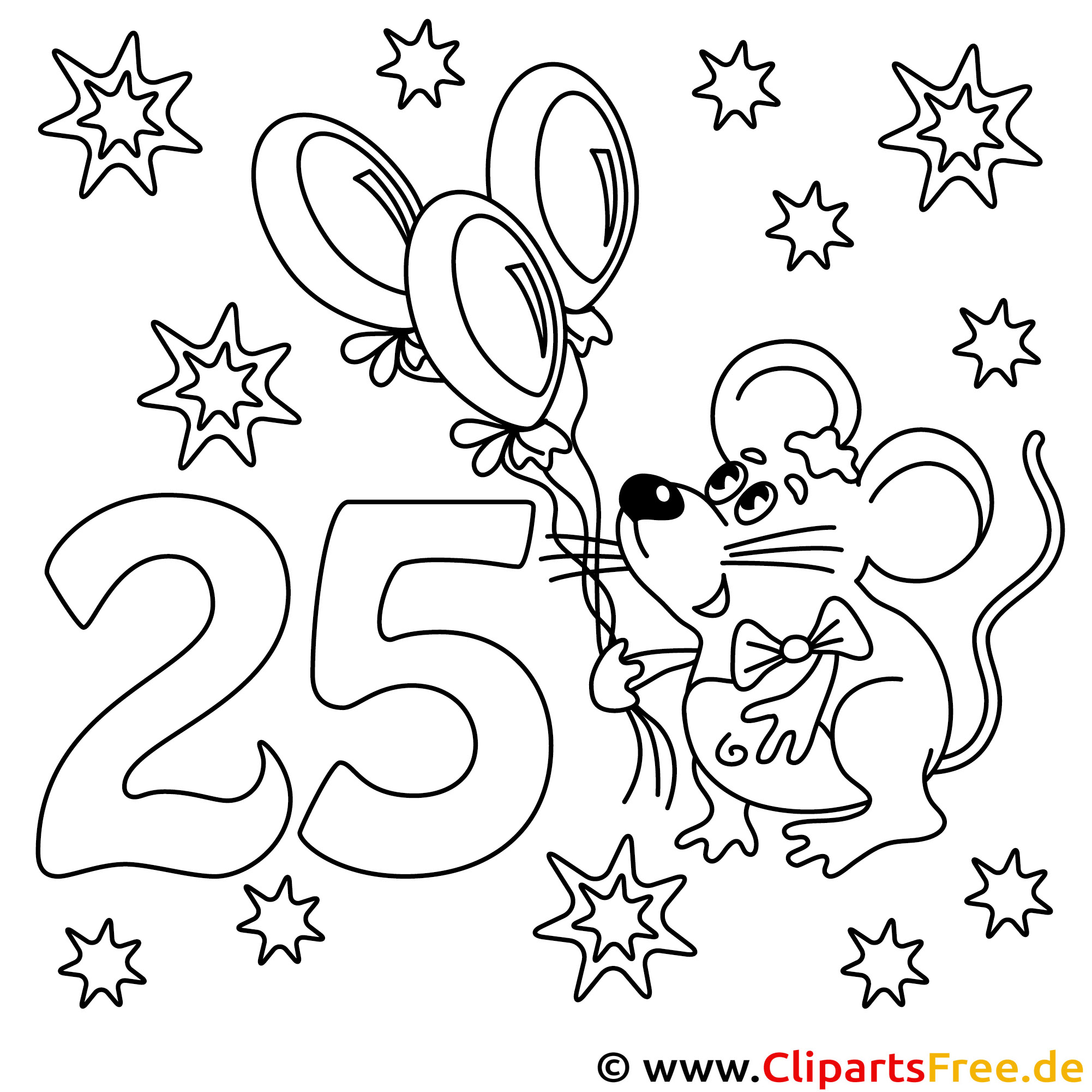 Malvorlage zum 25 Geburtstag - Ausmalbilder Happy Birthday