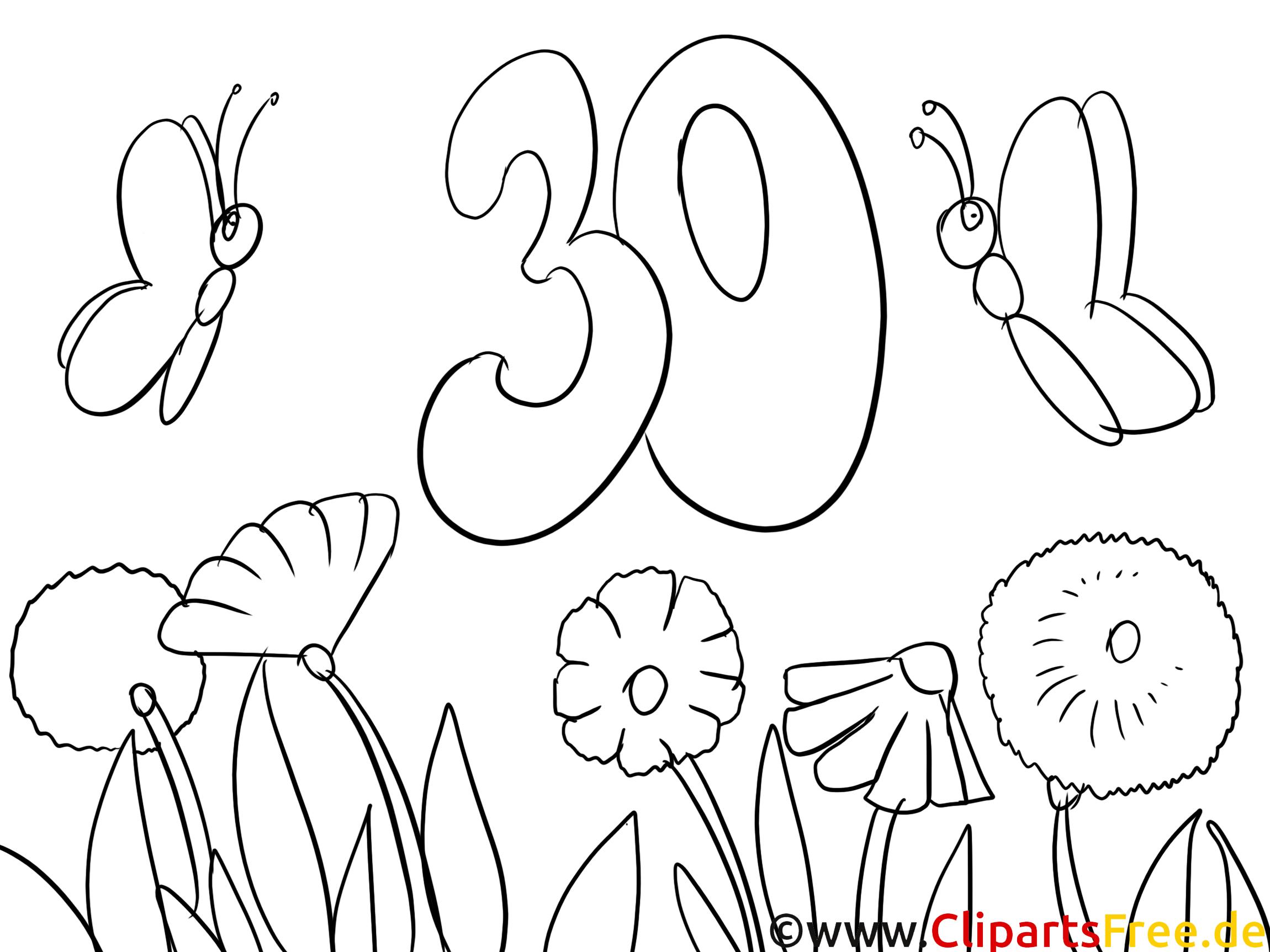 Malvorlage zum 30 Geburtstag